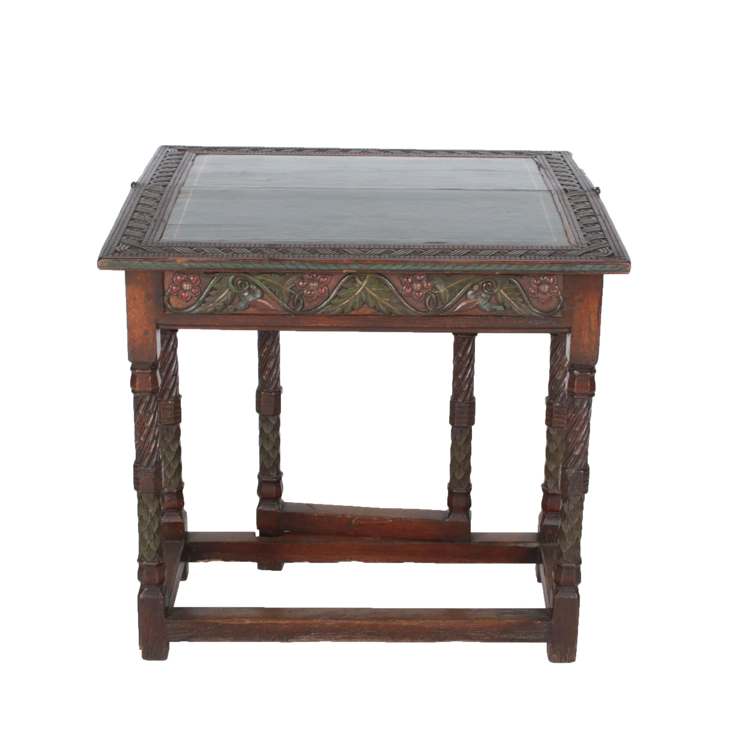 Early 20th Century Spanish Colonial Style Carved Oak and Polychromed Games Table