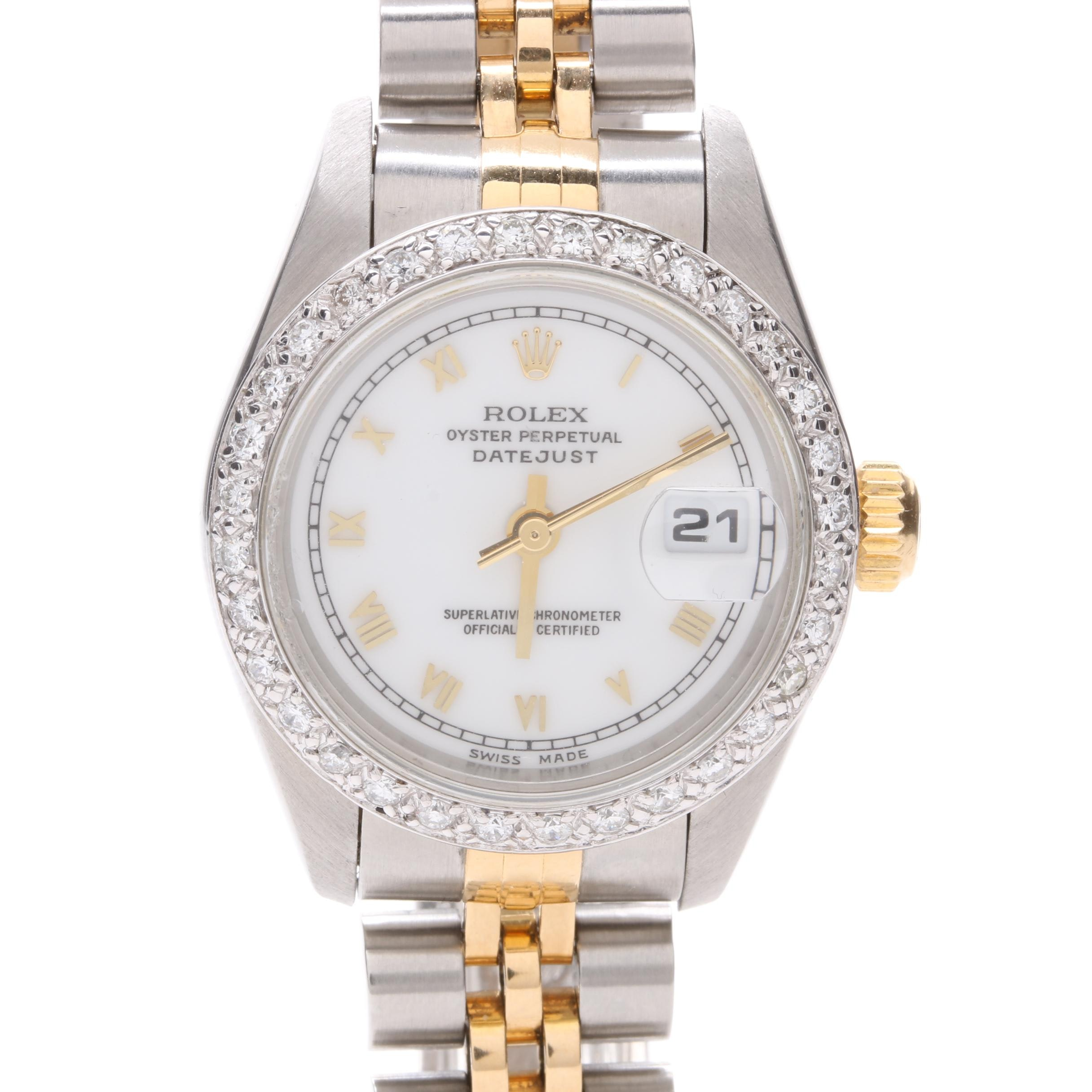 Rolex Stainless Steel and 18K Yellow Gold Diamond Wristwatch