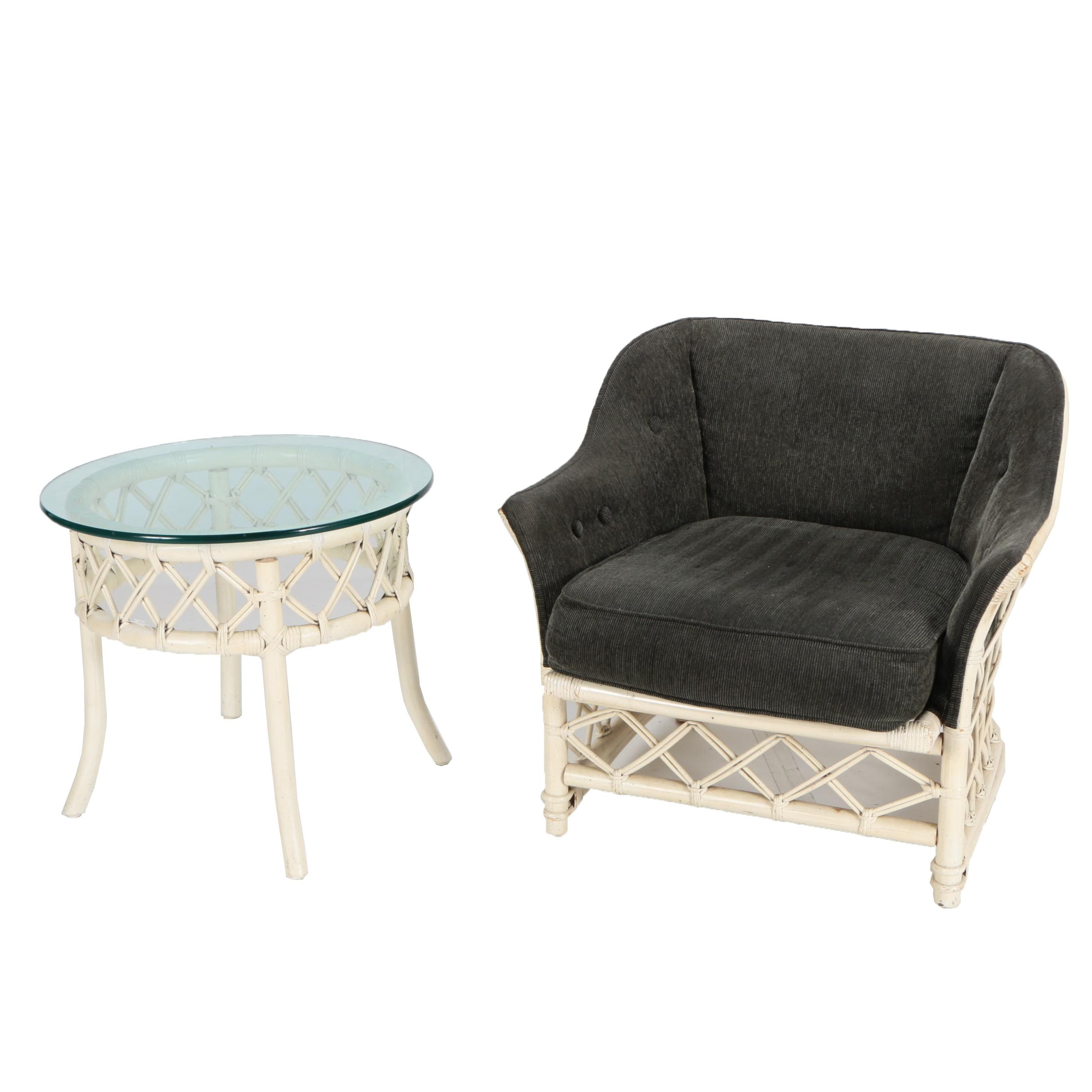 Painted Rattan Armchair Chair and Side Table