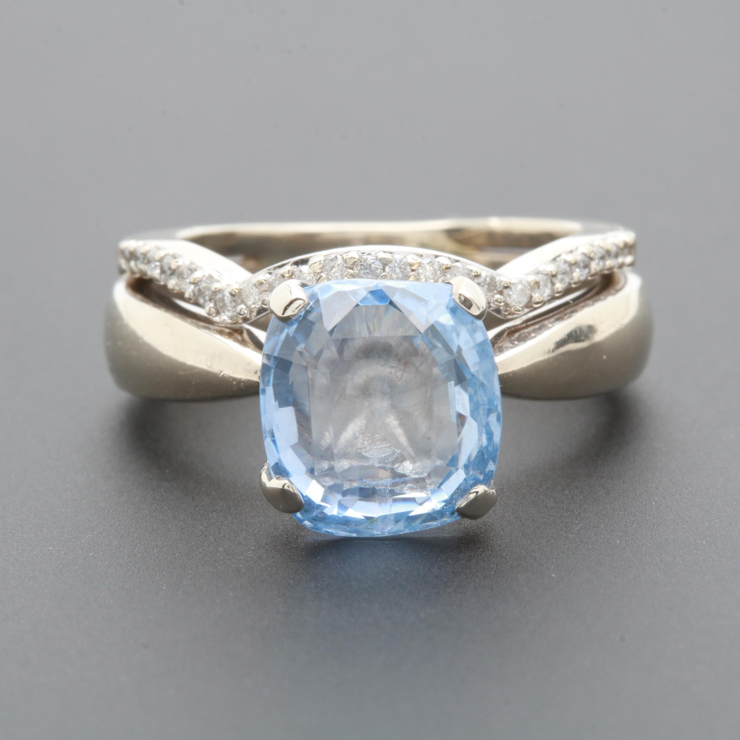 Kate McCullar 14K White Gold 4.92 CT Sapphire and Diamond Ring with GIA Report