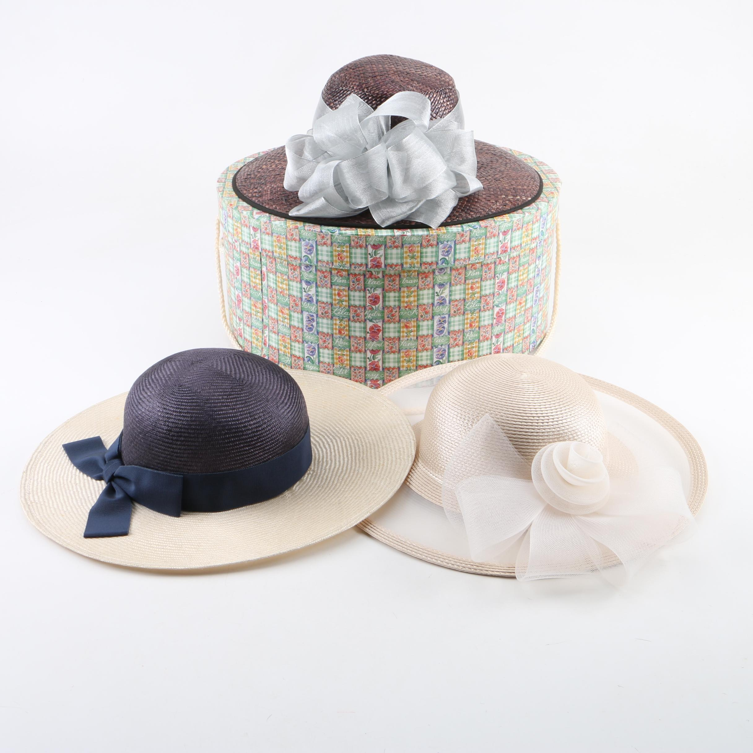 Women's Woven Straw and Cellophane Hats in Hat Box Including Adrienne