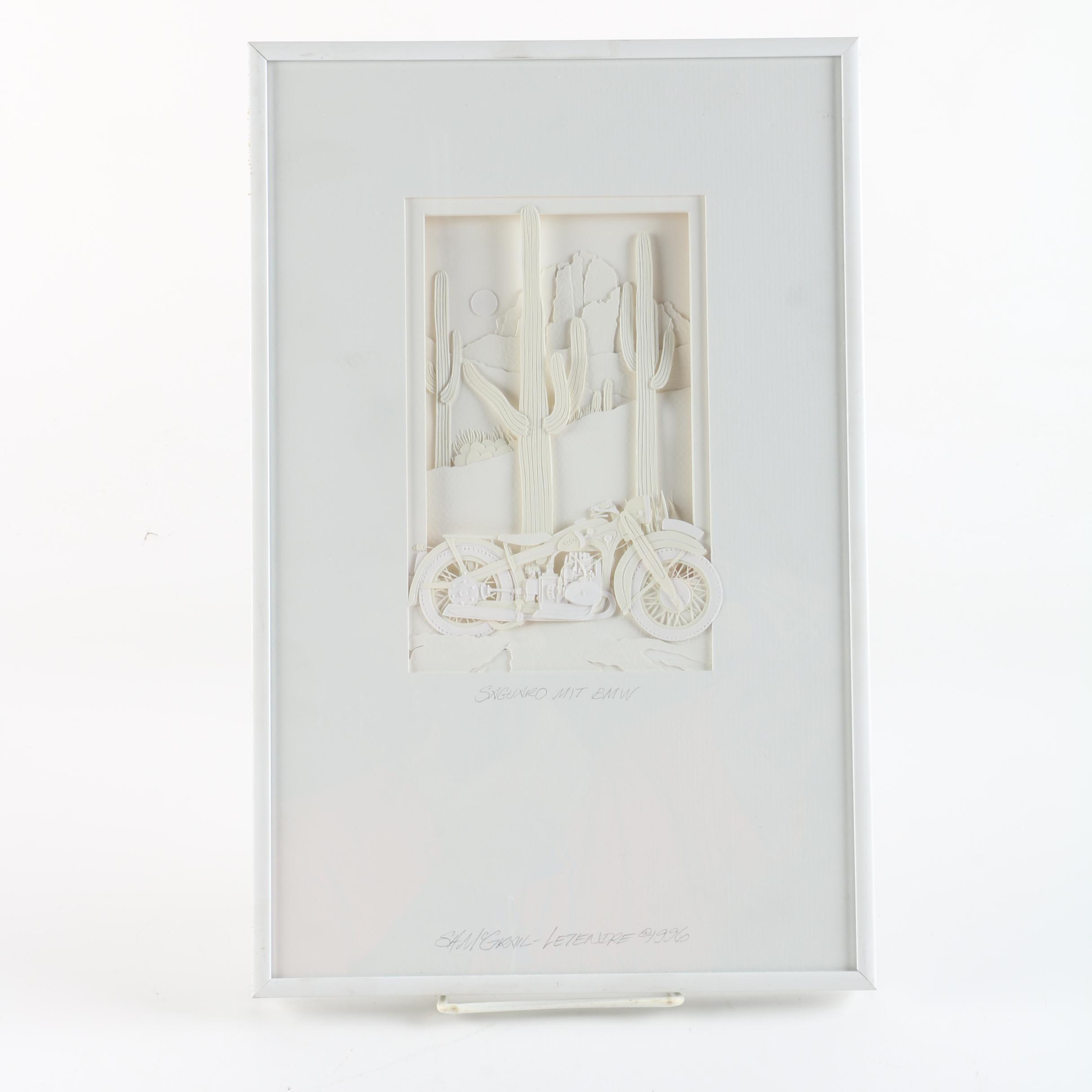 "Stephanie Hart McGrail-Letendre 1996 Cut Paper Collage ""Saguaro Mit BMW"""