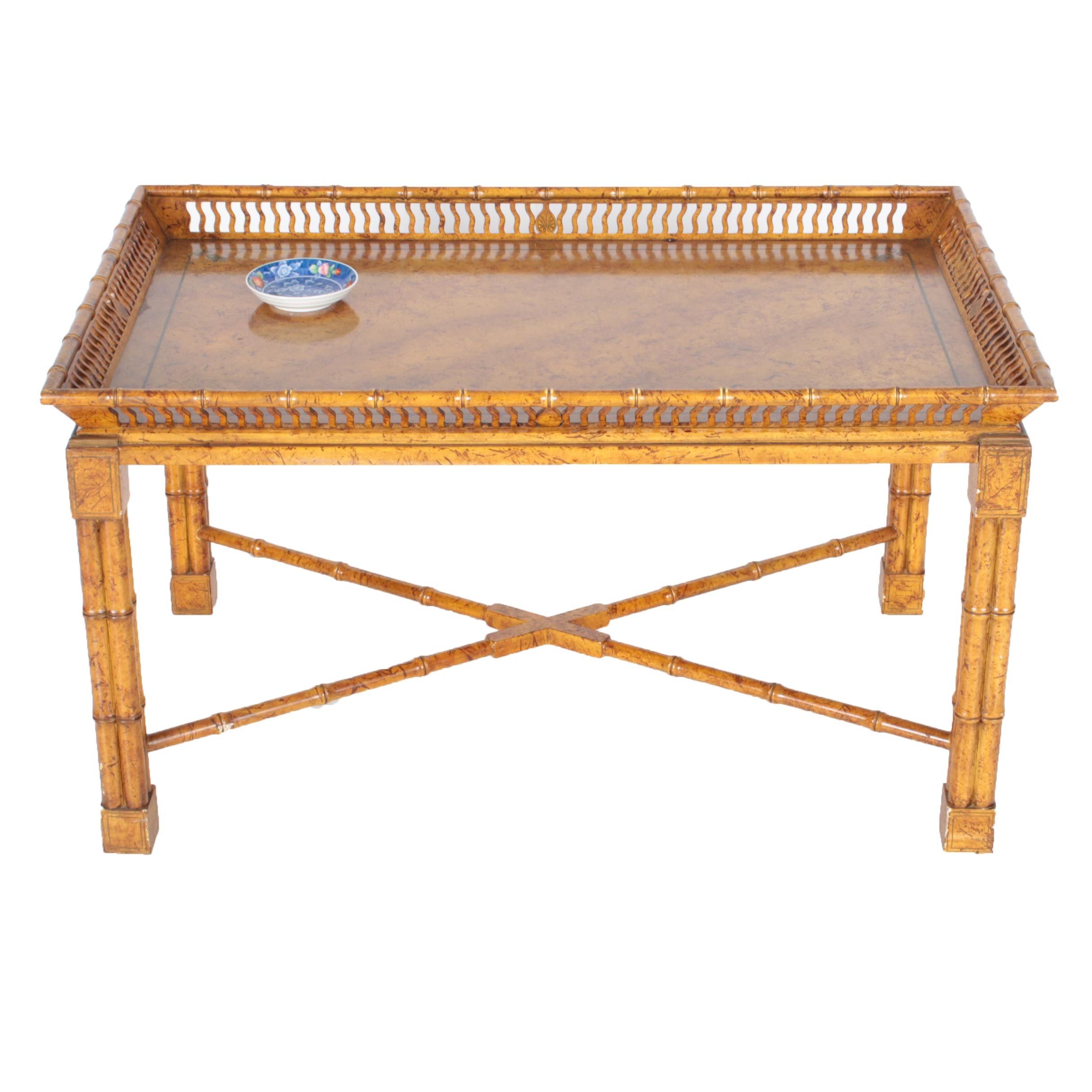 Chinoiserie Faux-Bamboo Coffee Table by Mario Buatta for John Widdicomb Company