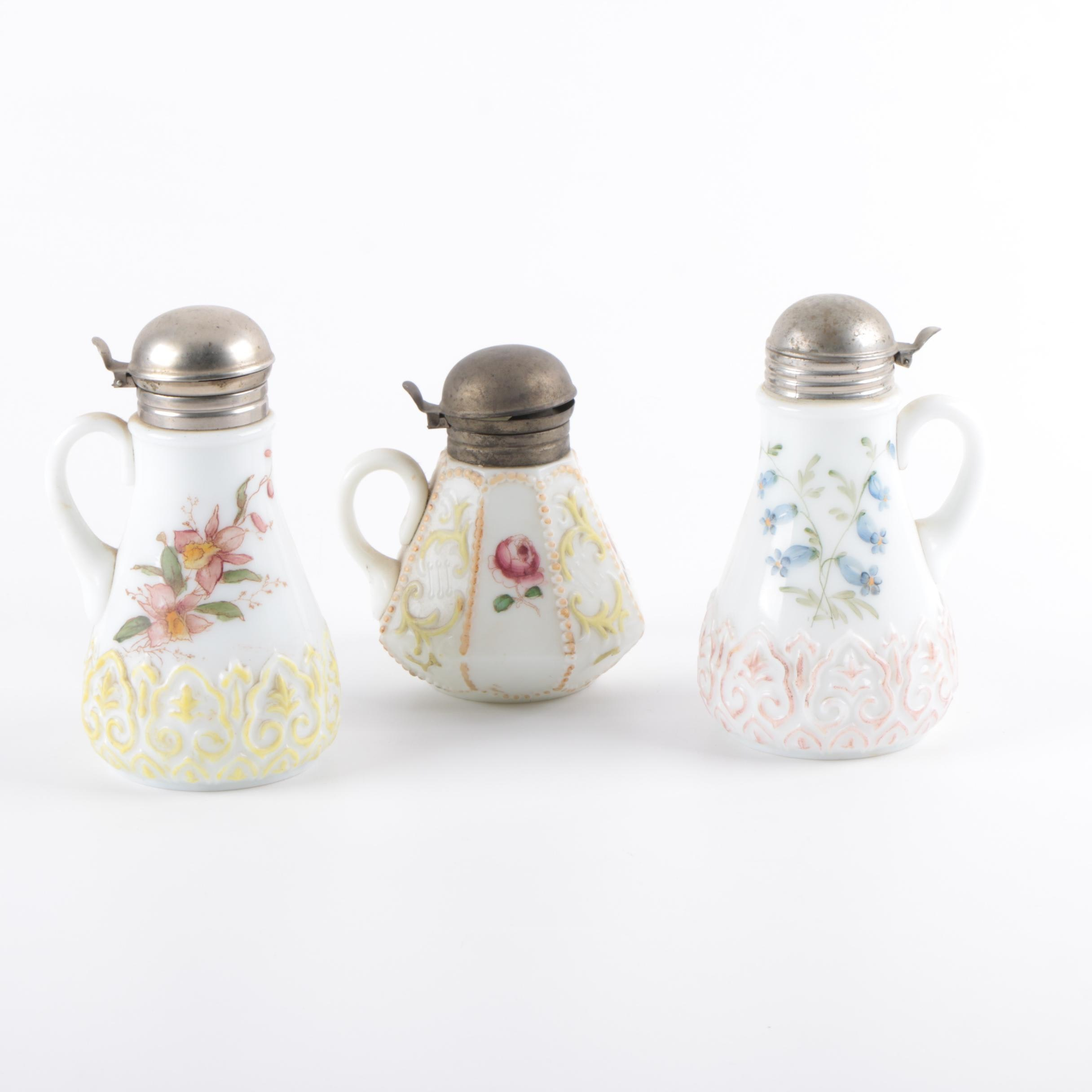 Three Antique Hand Painted Milk Glass Syrup Pitchers