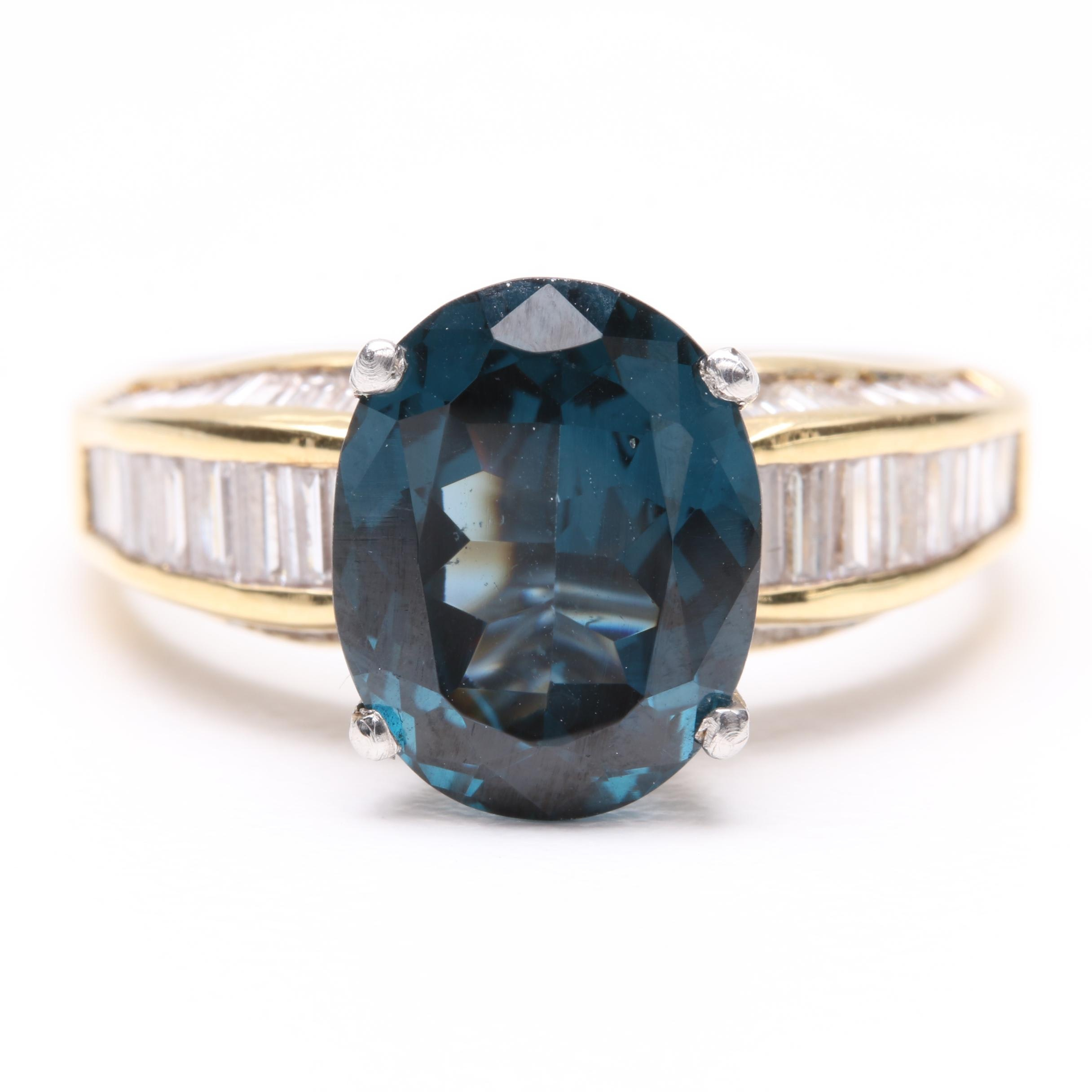 18K Yellow Gold 3.89 CT Spinel and 1.25 CTW Diamond Ring