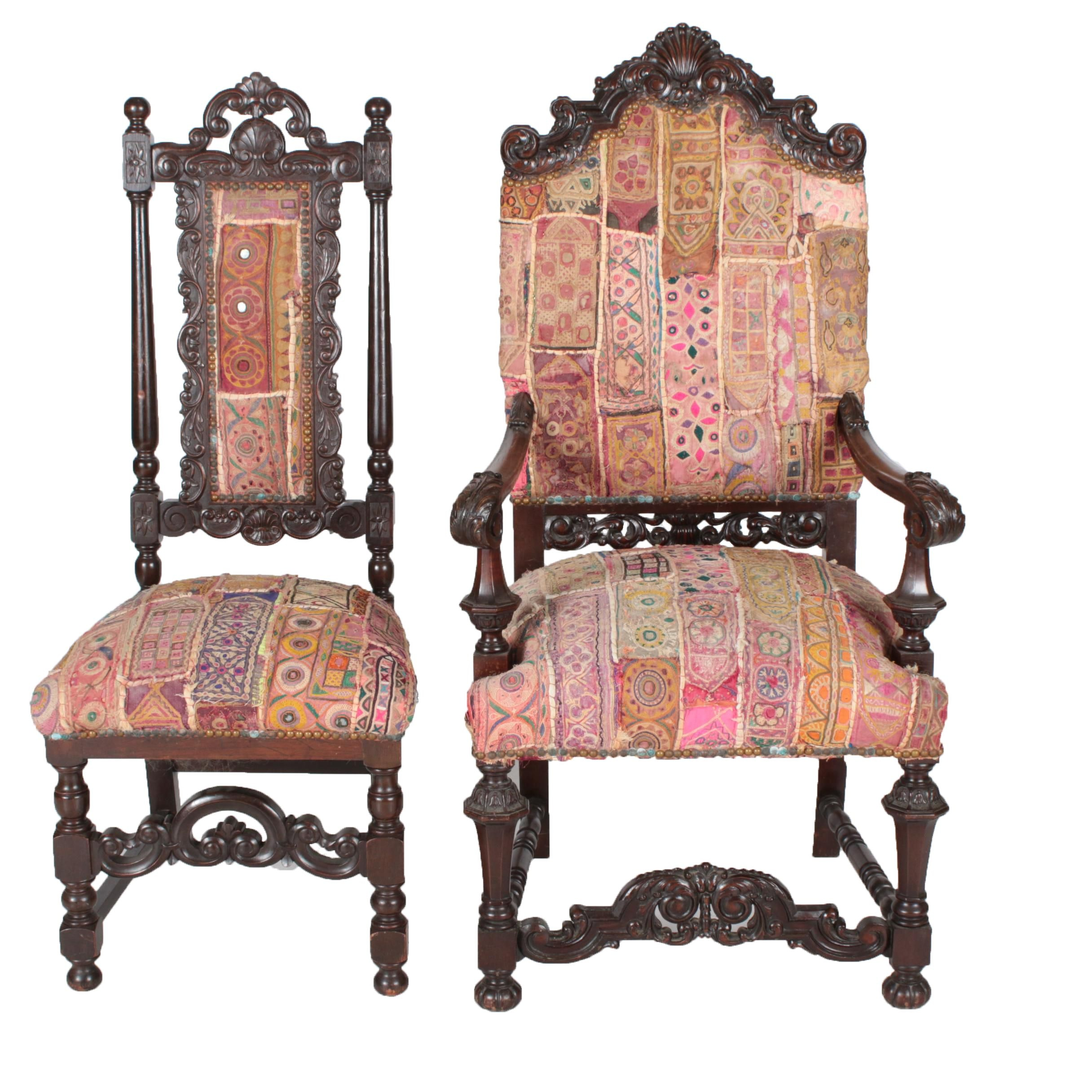Early 20th Century Carolean Style Carved Mahogany Armchair and Oak Side Chair