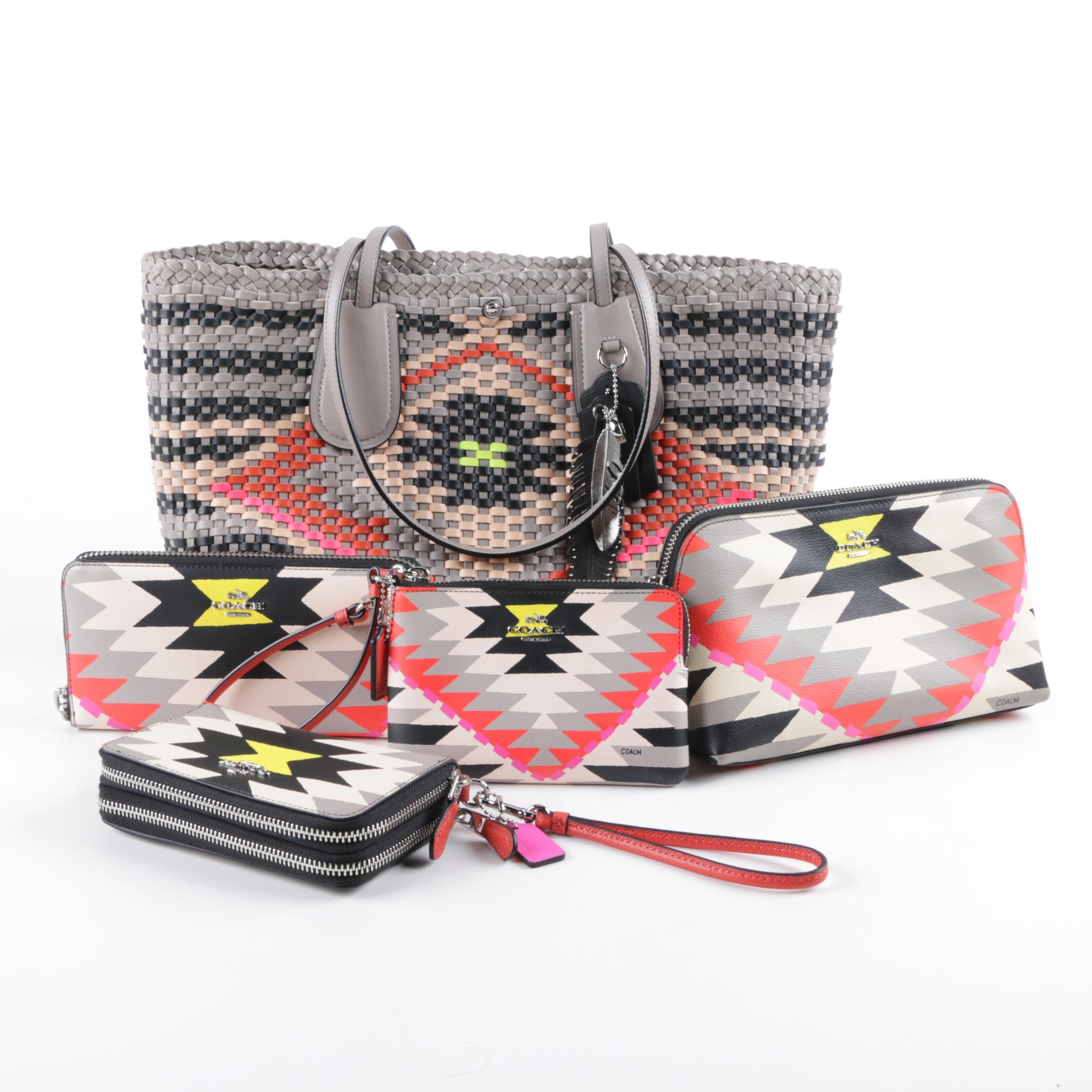 Coach Woven Leather Taxi Tote Handbag and Matching Wallet and Pouches
