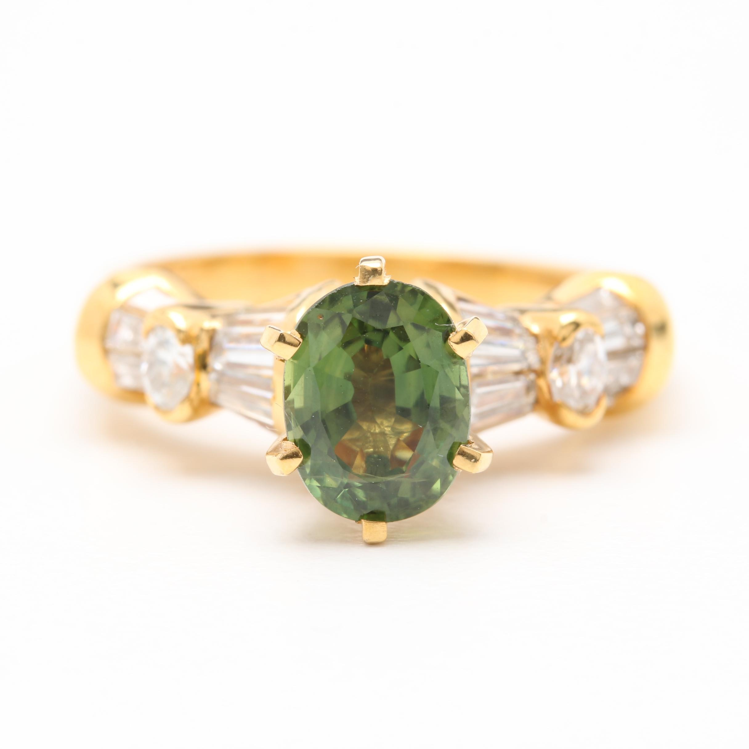 14K and 18K Yellow Gold Green Sapphire and Diamond Ring