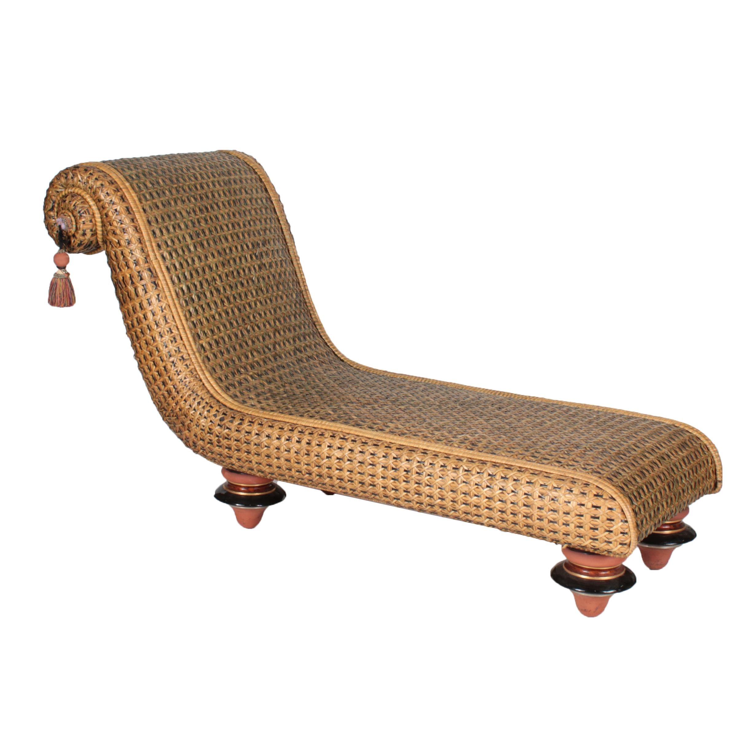 MacKenzie-Childs Rattan Chaise Lounge