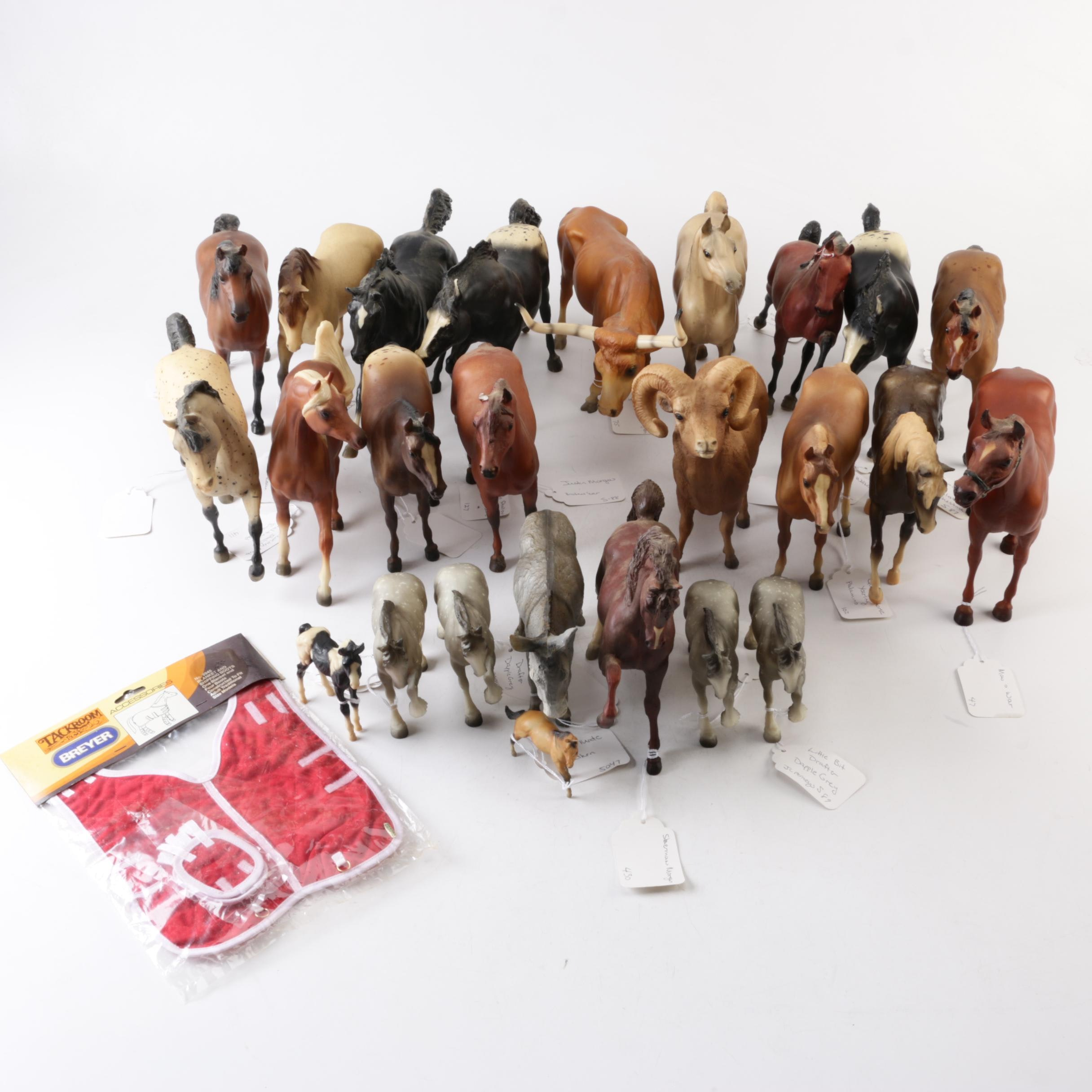 Horse Figurines Featuring Breyer With Tack Accessory, Bull, and Ram