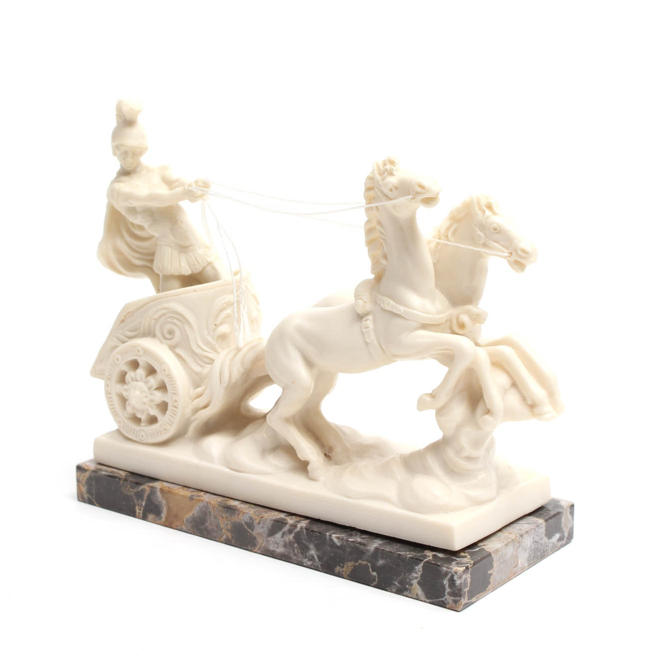 A. Santini Resin Chariot Figurine on Marble Base