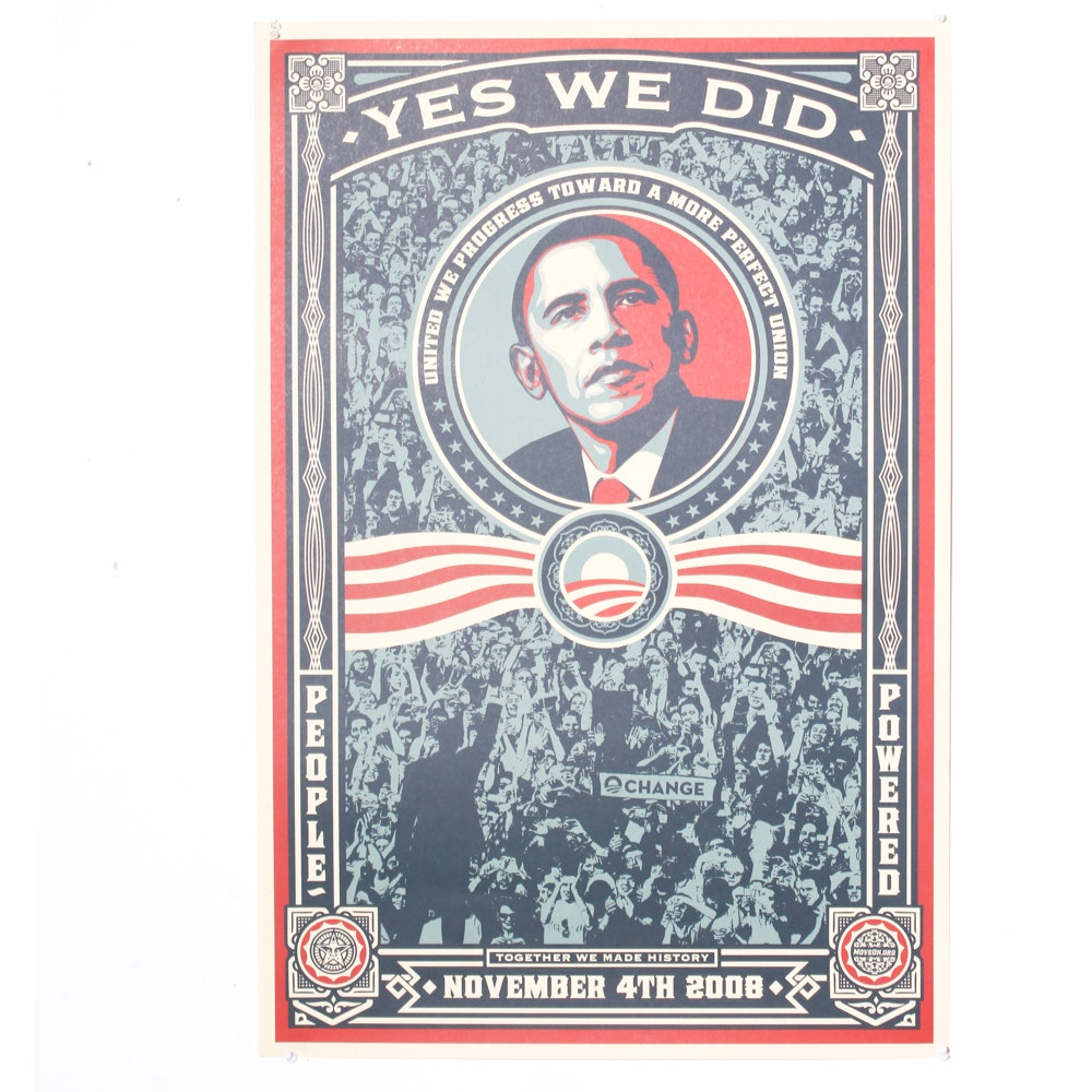 """Shepard Fairey """"Yes We Did"""" Offset Print"""