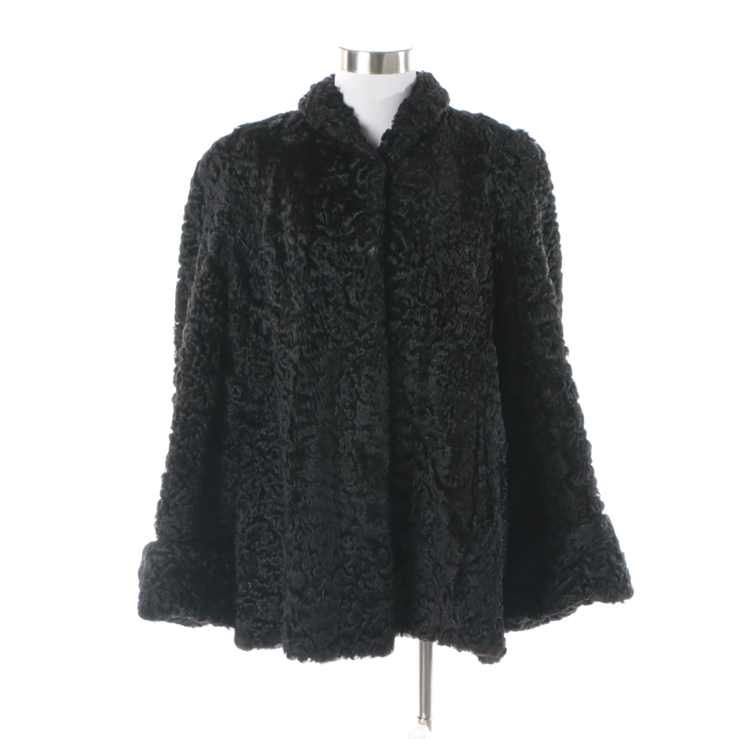 Women's Vintage Black Persian Lamb Fur Cape Coat
