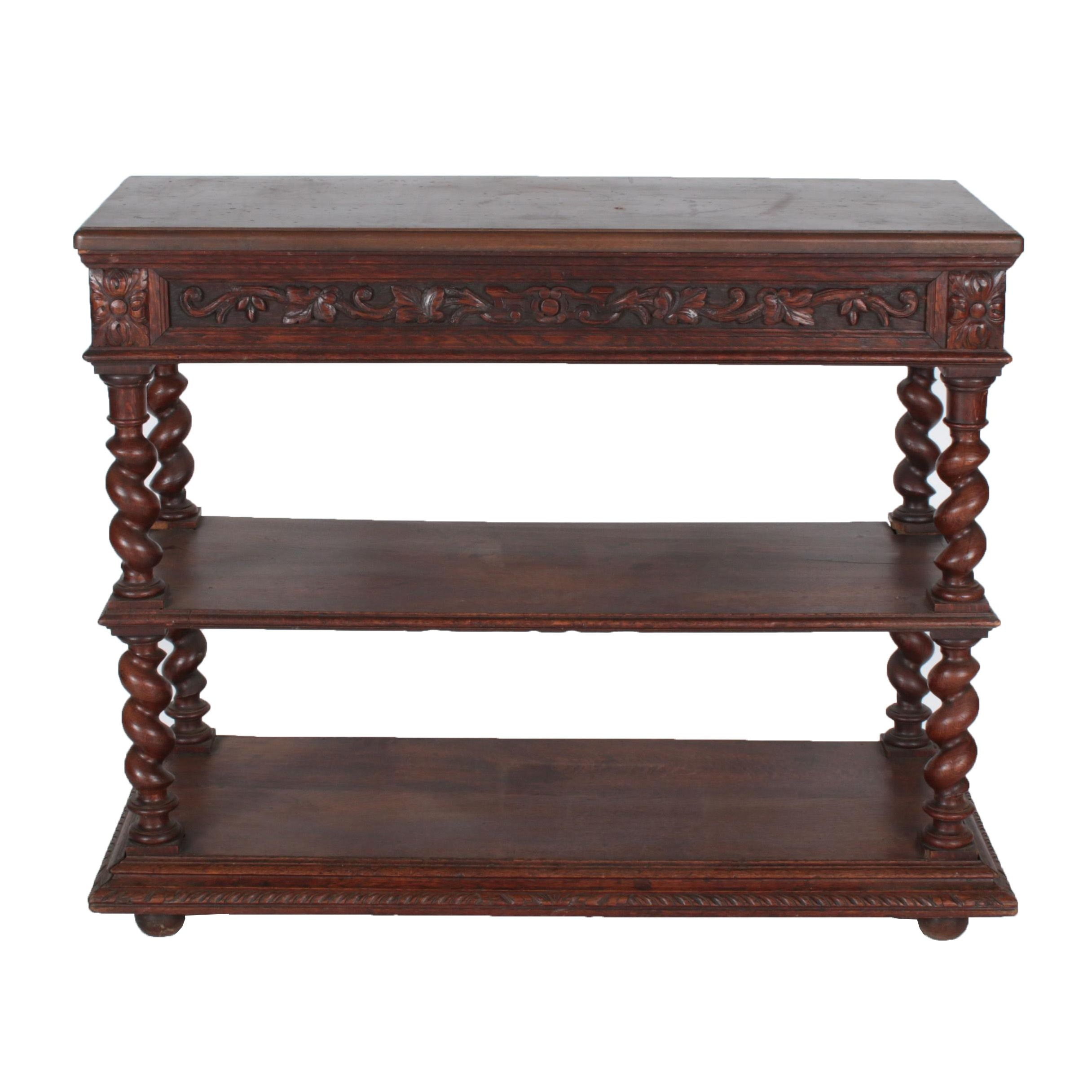 Antique Henri II Style Carved Oak Two-Tier Server