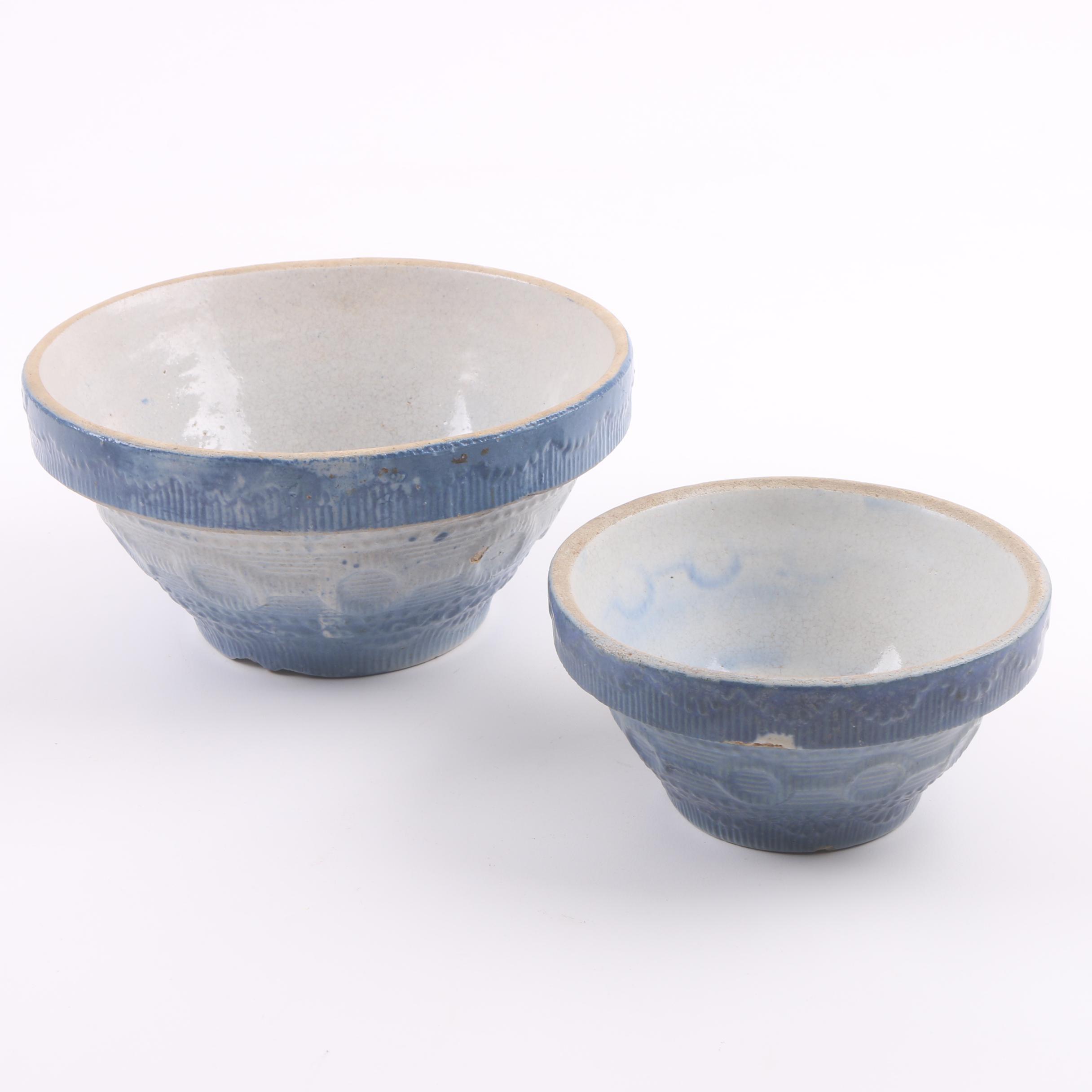 """1930's Blue Salt Glazed """"Wedding Band"""" Stoneware Mixing Bowls"""