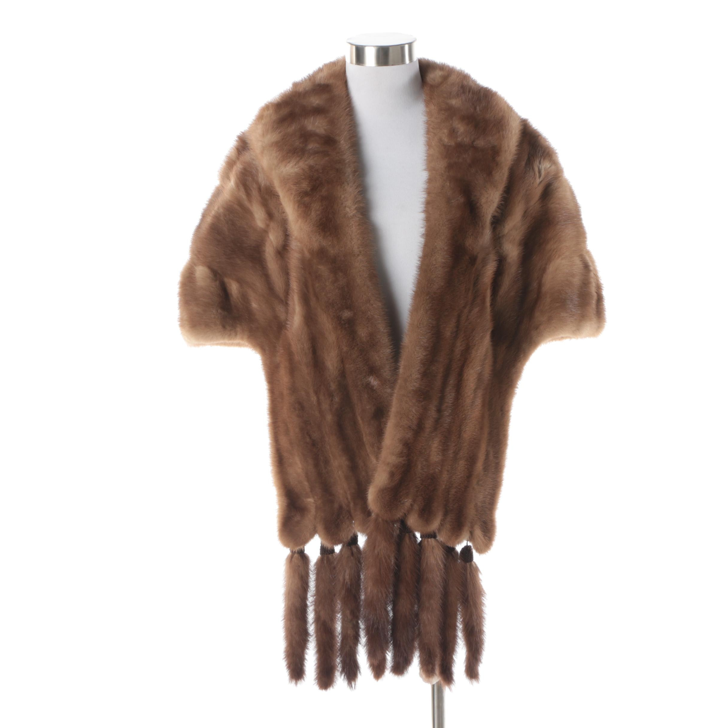 Vintage Brown Mink Fur Stole with Detachable Mink Tails