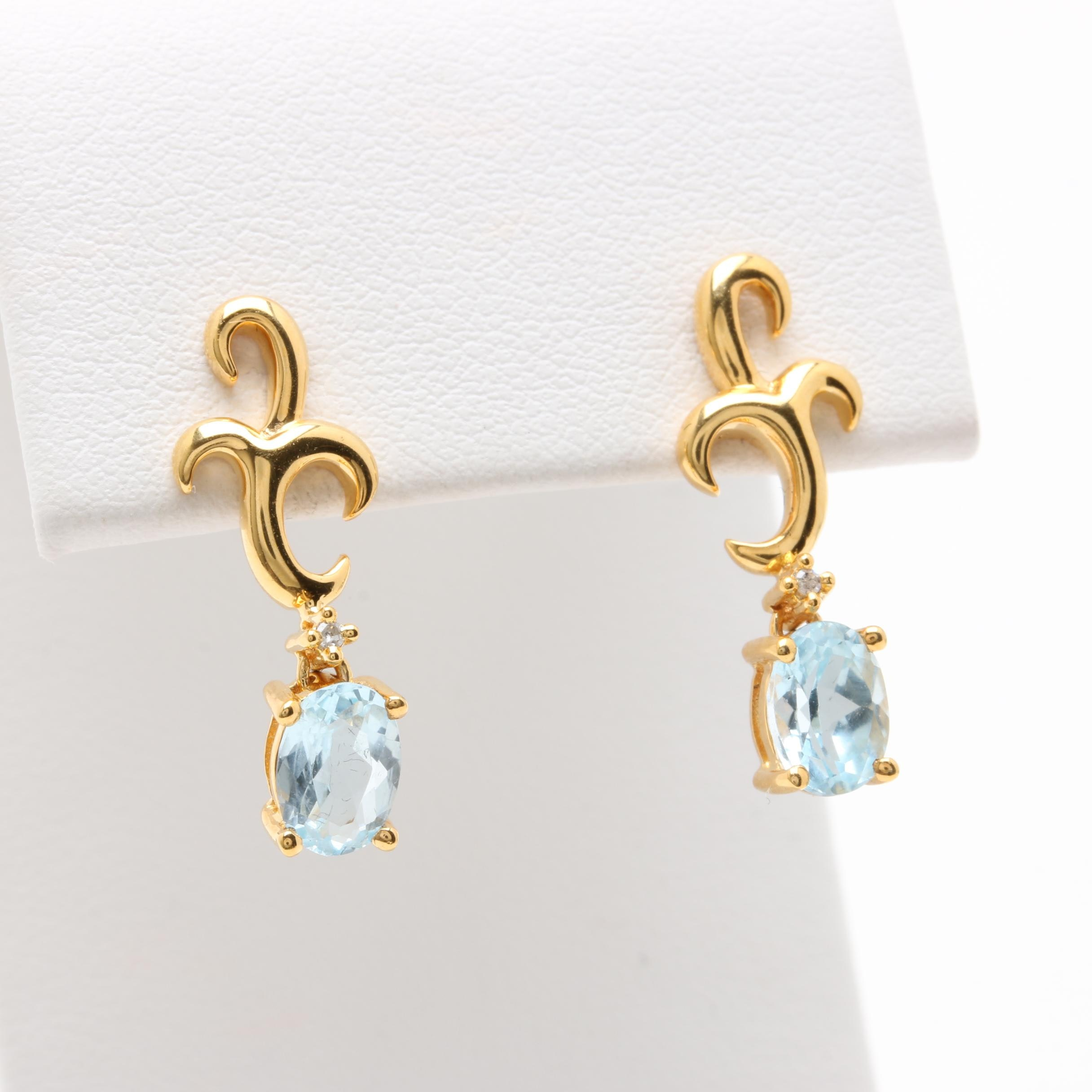 9K and 14K Yellow Gold Blue Topaz and Diamond Earrings