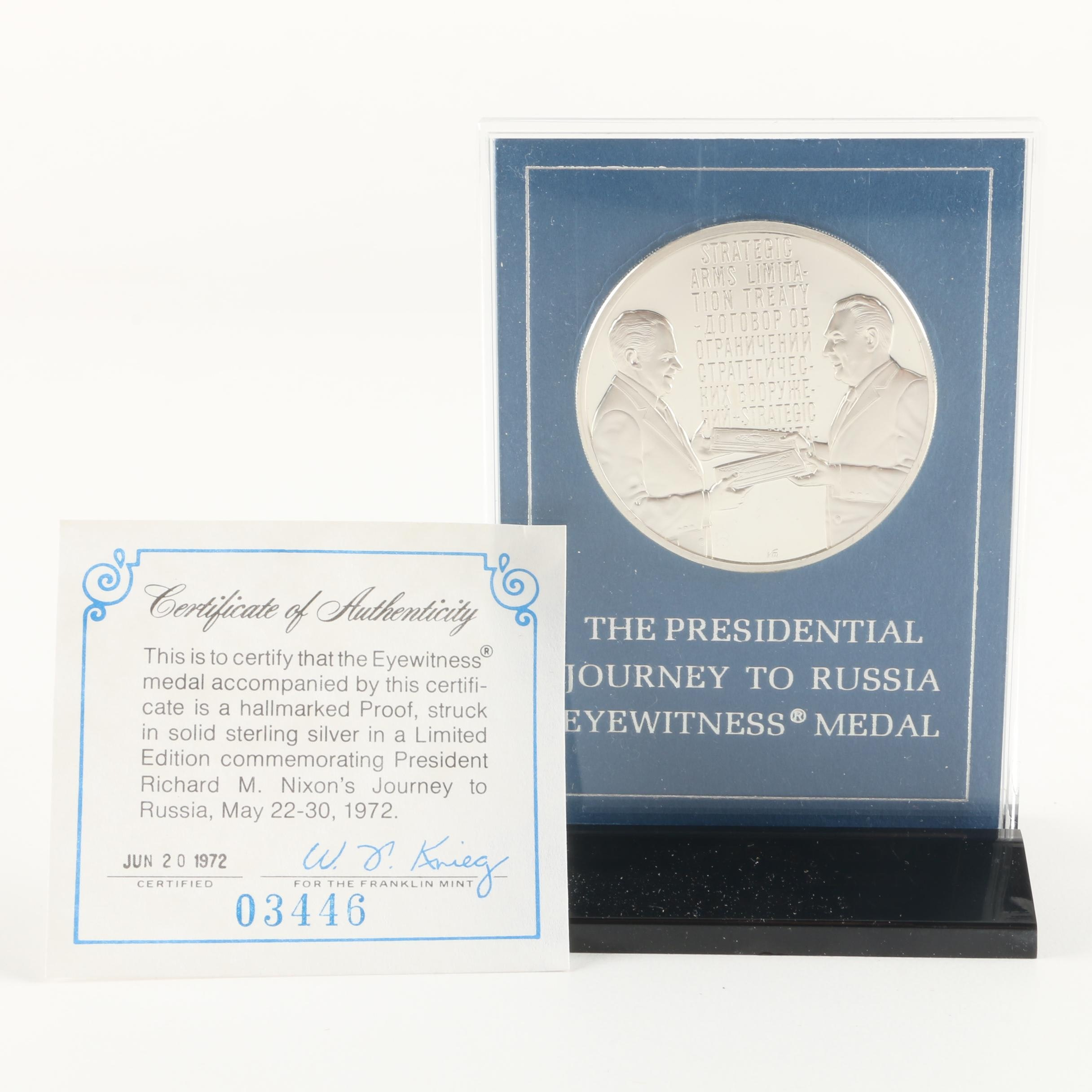 """Franklin Mint """"Presidential Journey to Russia"""" Sterling Silver Medal"""