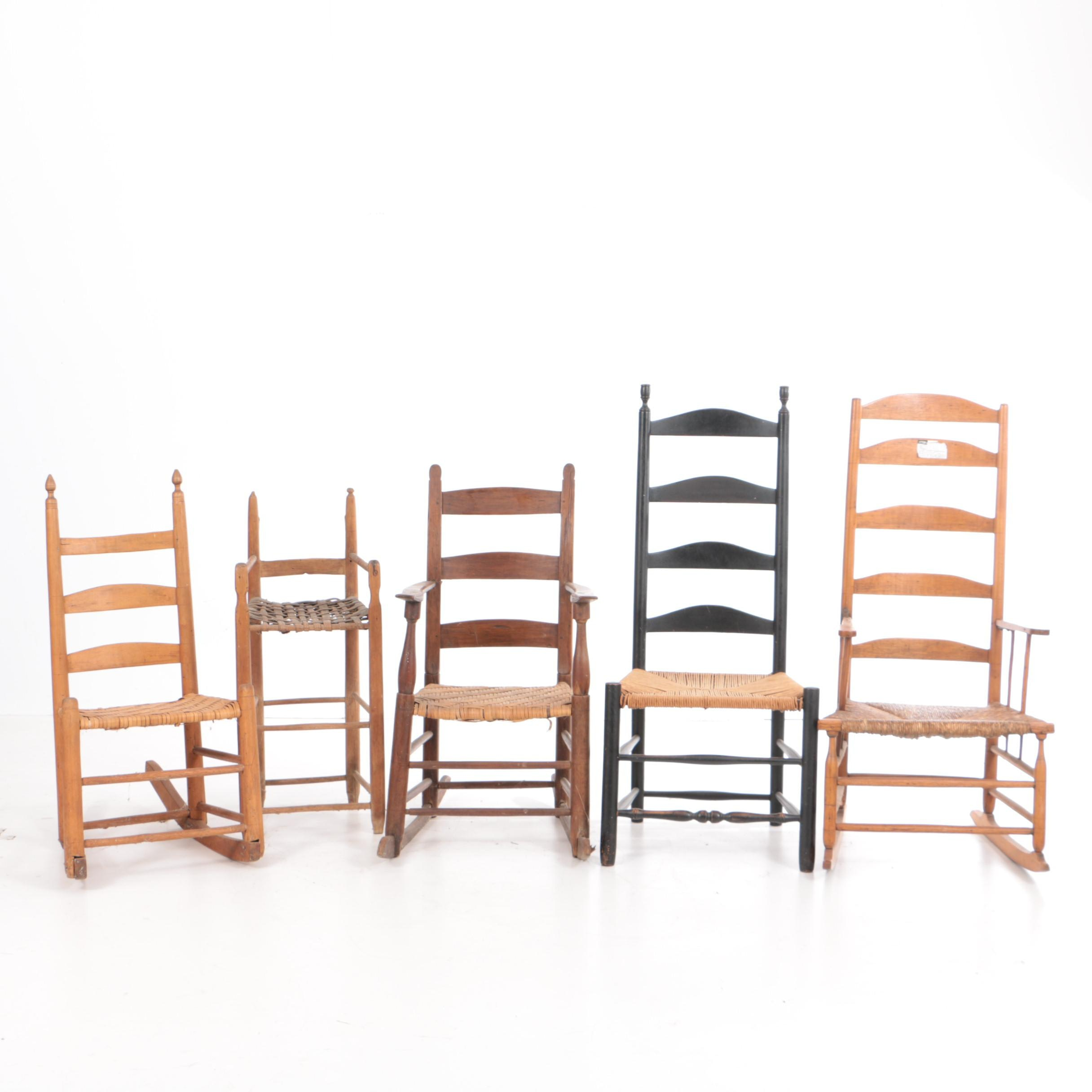 Antique Ladderback Chairs with Woven Seats