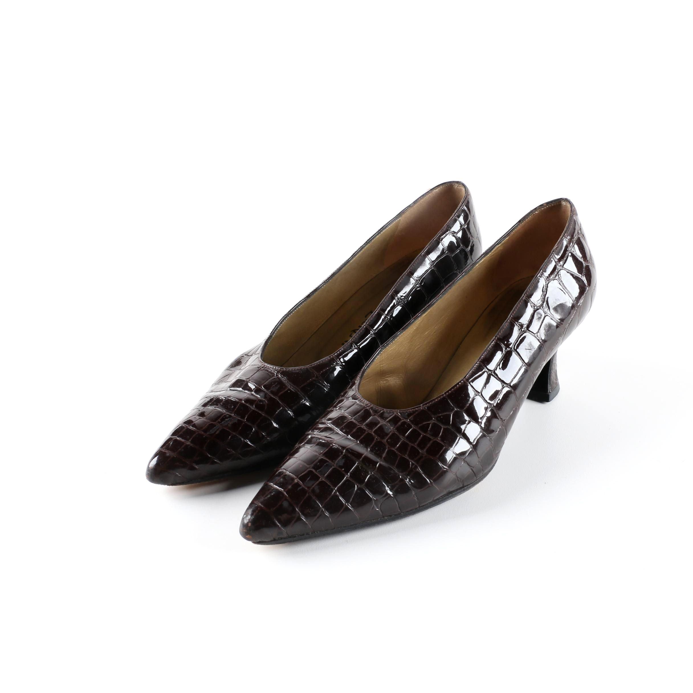 Vintage Yves Saint Laurent Brown Alligator Embossed Patent Leather Pumps