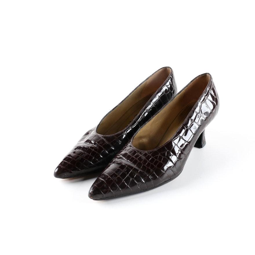 43c75fe82ab53 Vintage Yves Saint Laurent Brown Alligator Embossed Patent Leather Pumps ...