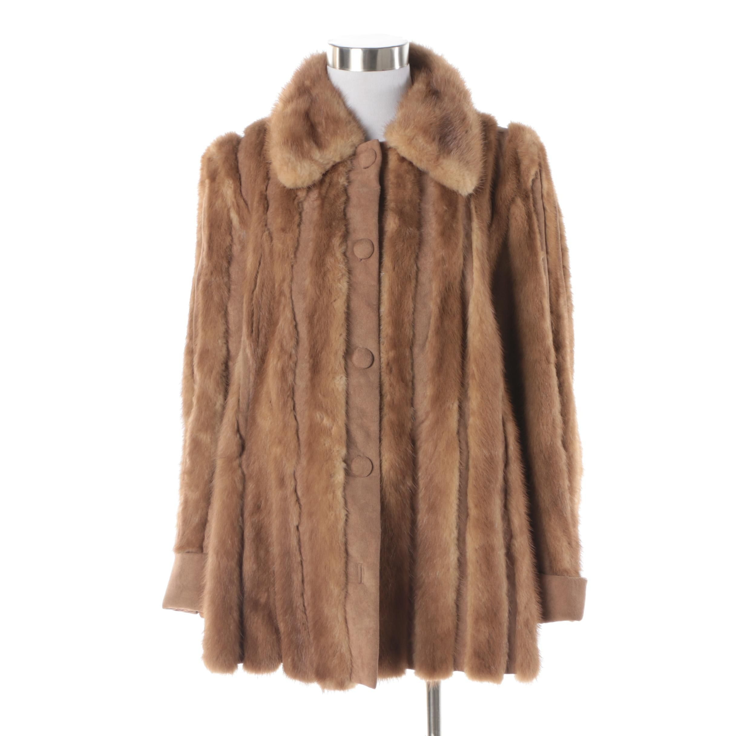 Women's Vintage Fuhrman's Furs of Beverly Hills Brown Mink Fur and Suede Coat