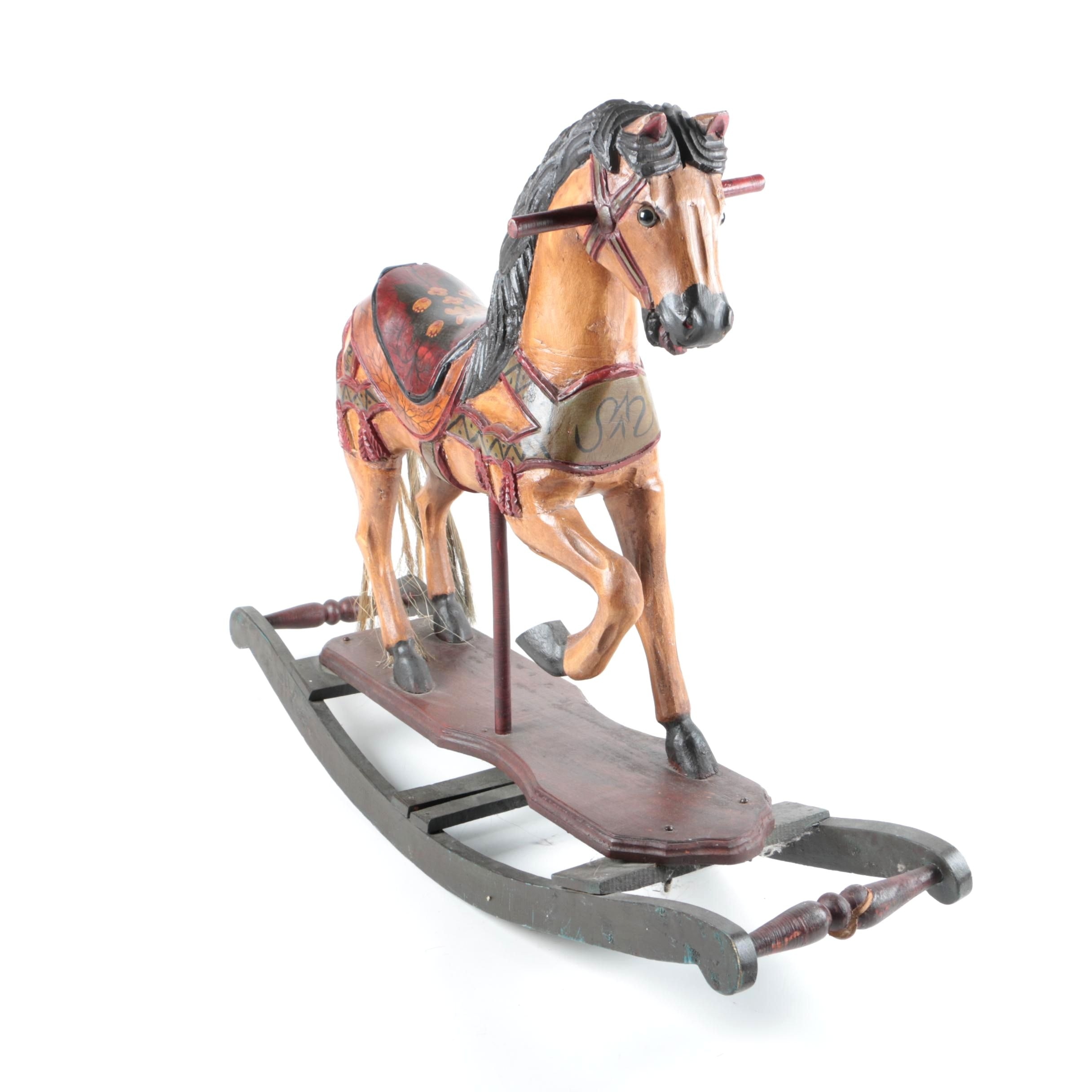 Vintage Hand-Decorated Rocking Horse