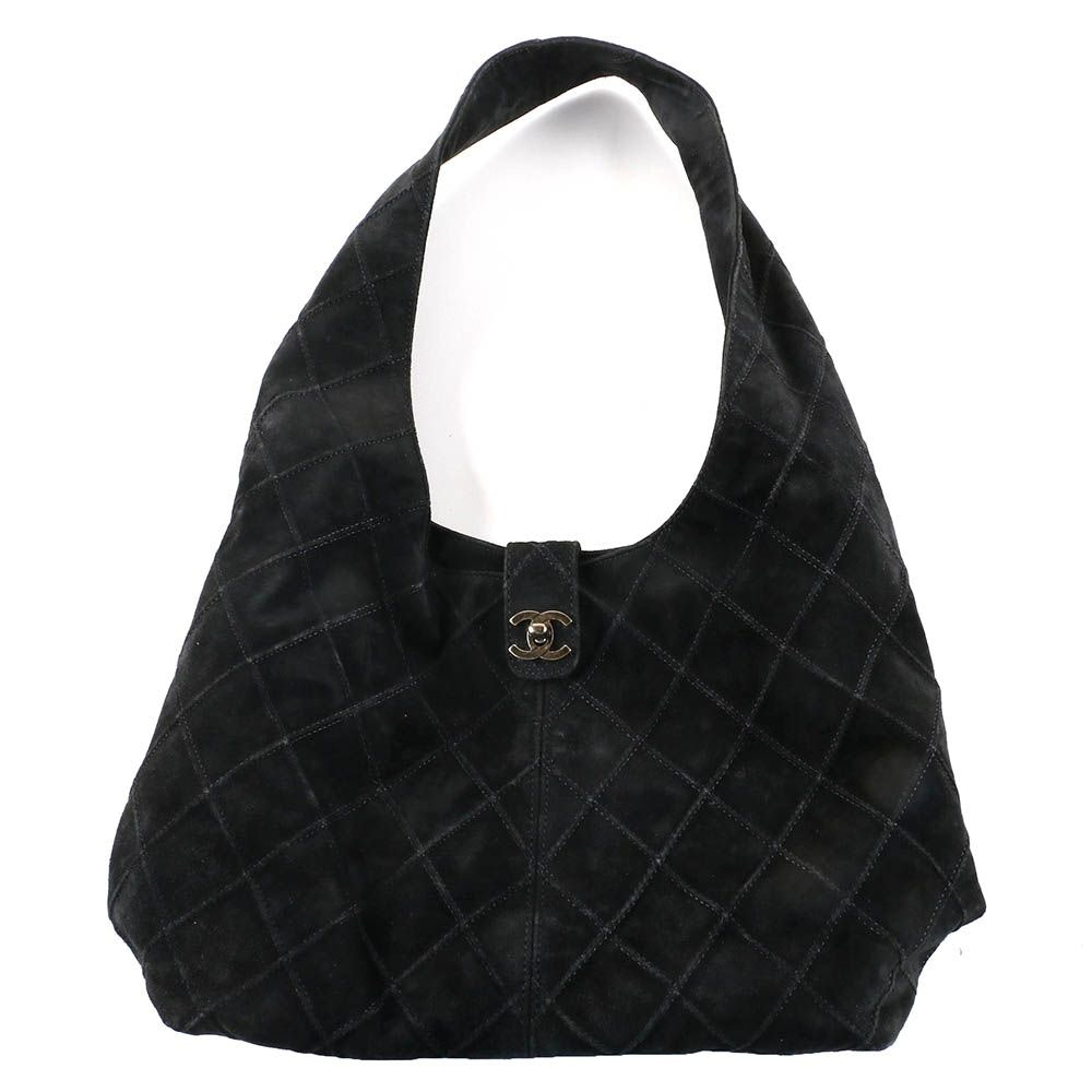 Chanel Quilted Black Suede Hobo Bag