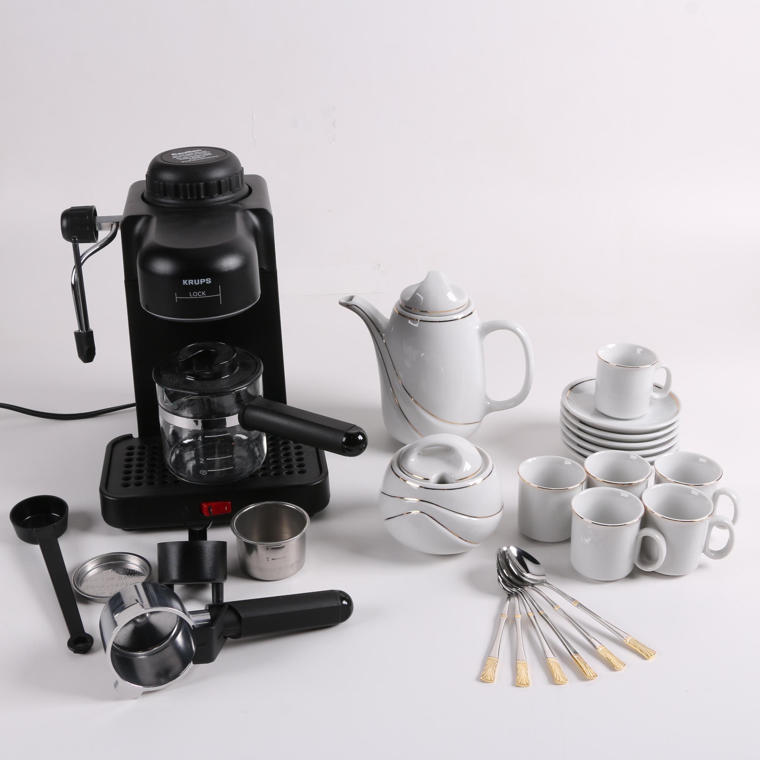Krups Espresso Machine with Demitasse Set