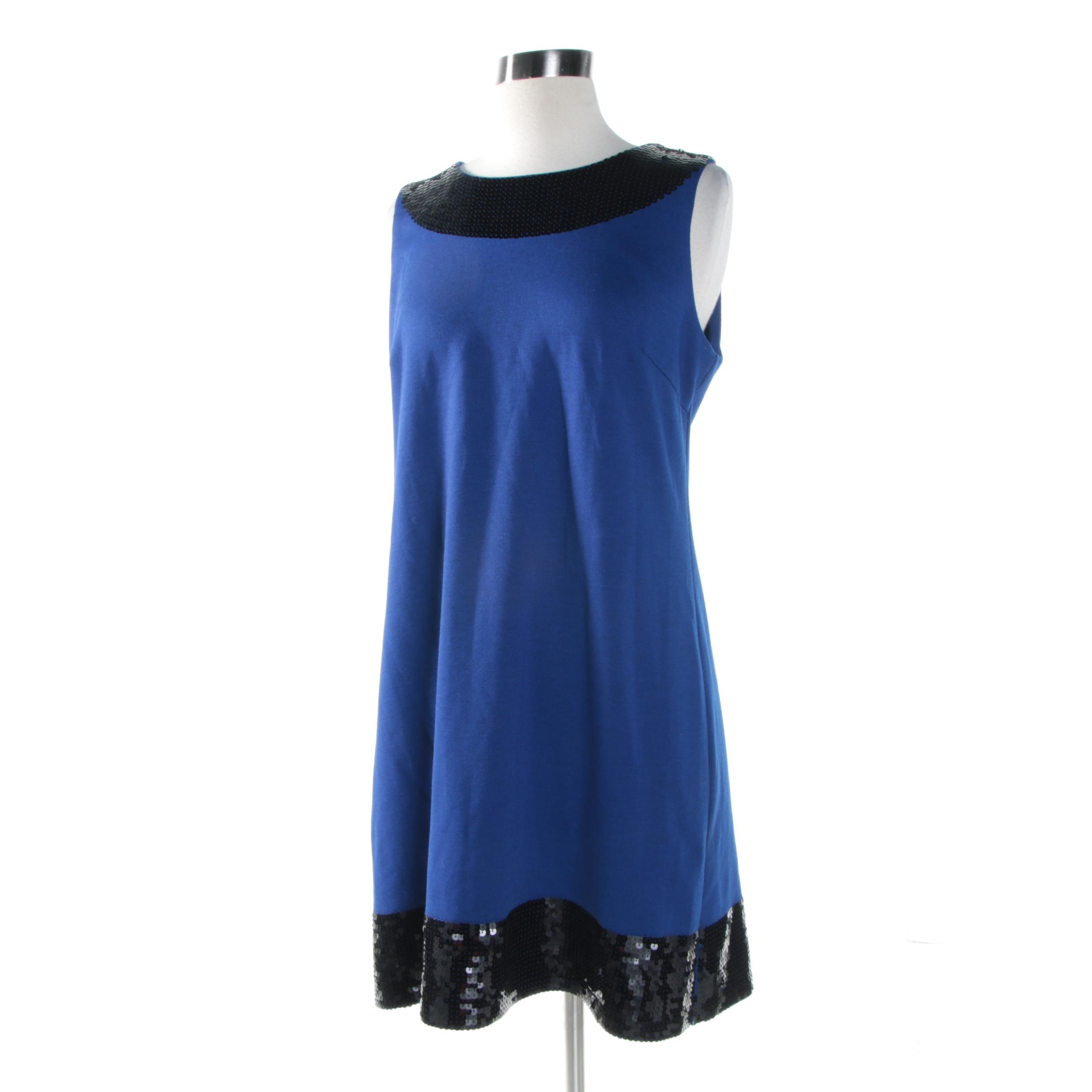 Julie Brown Cobalt Blue and Black Sequined Sleeveless Cocktail Dress
