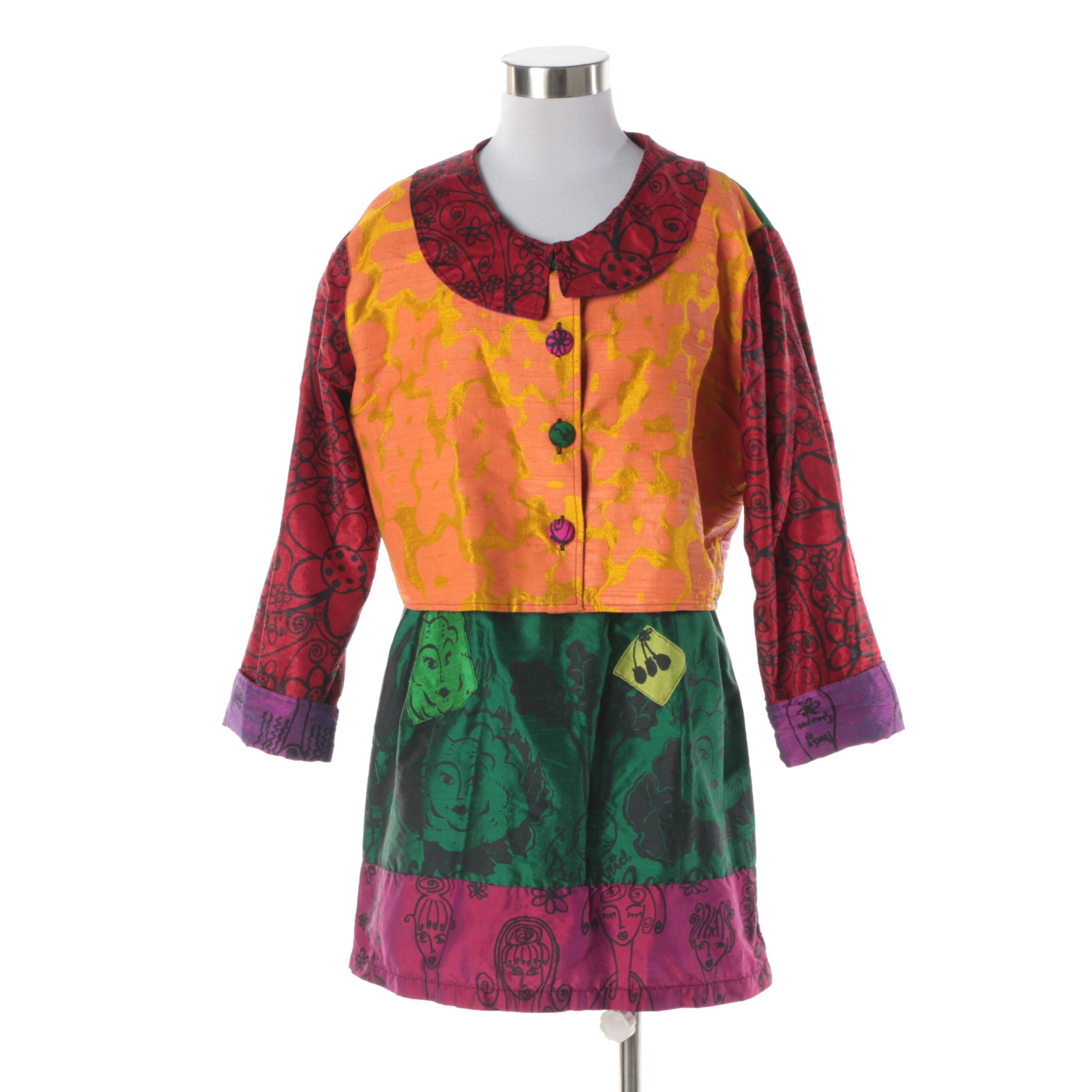 Women's Peach Berserk Multicolored Silk Blend Sleeveless Dress and Jacket