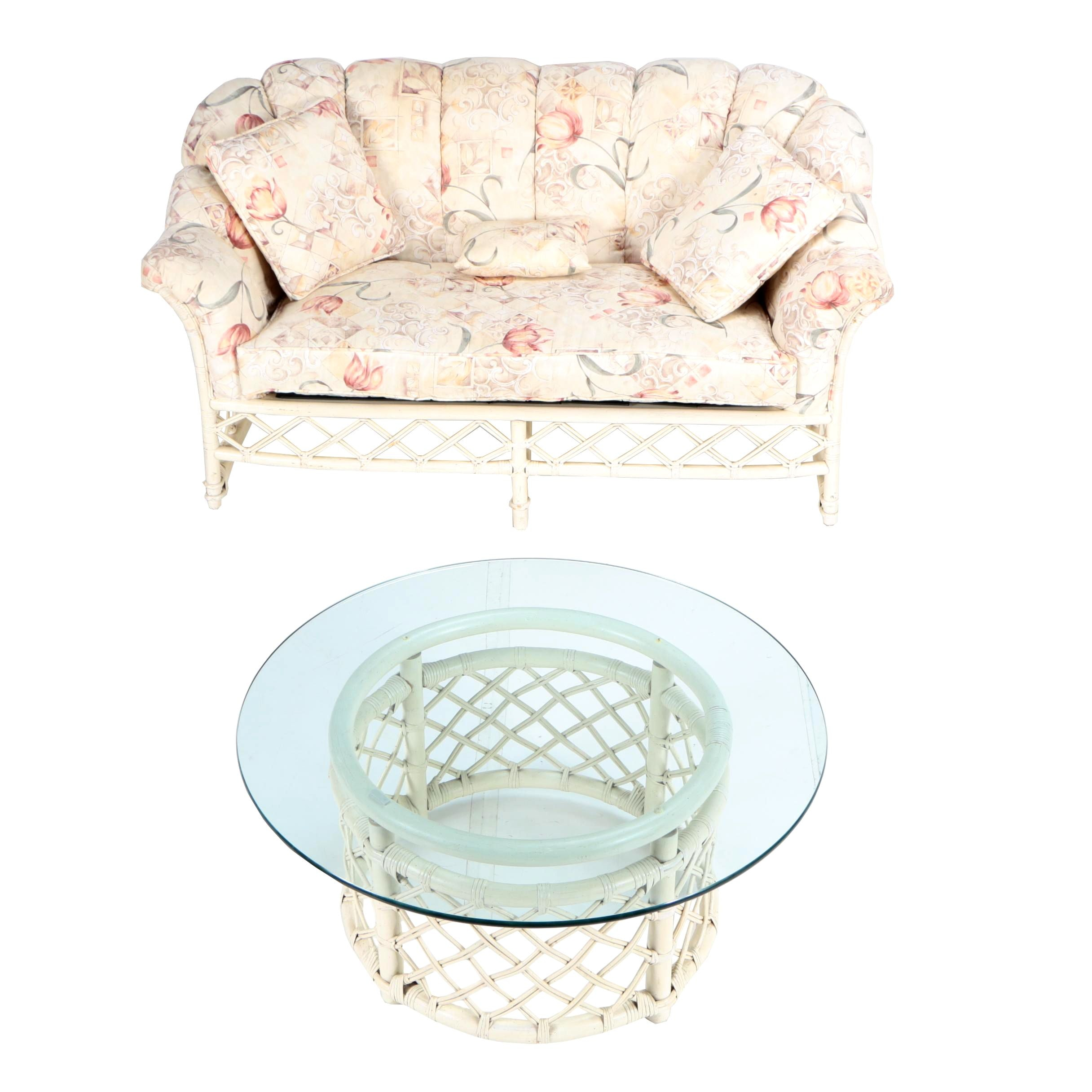 Vintage Painted Rattan Loveseat with Glass Top Coffee Table