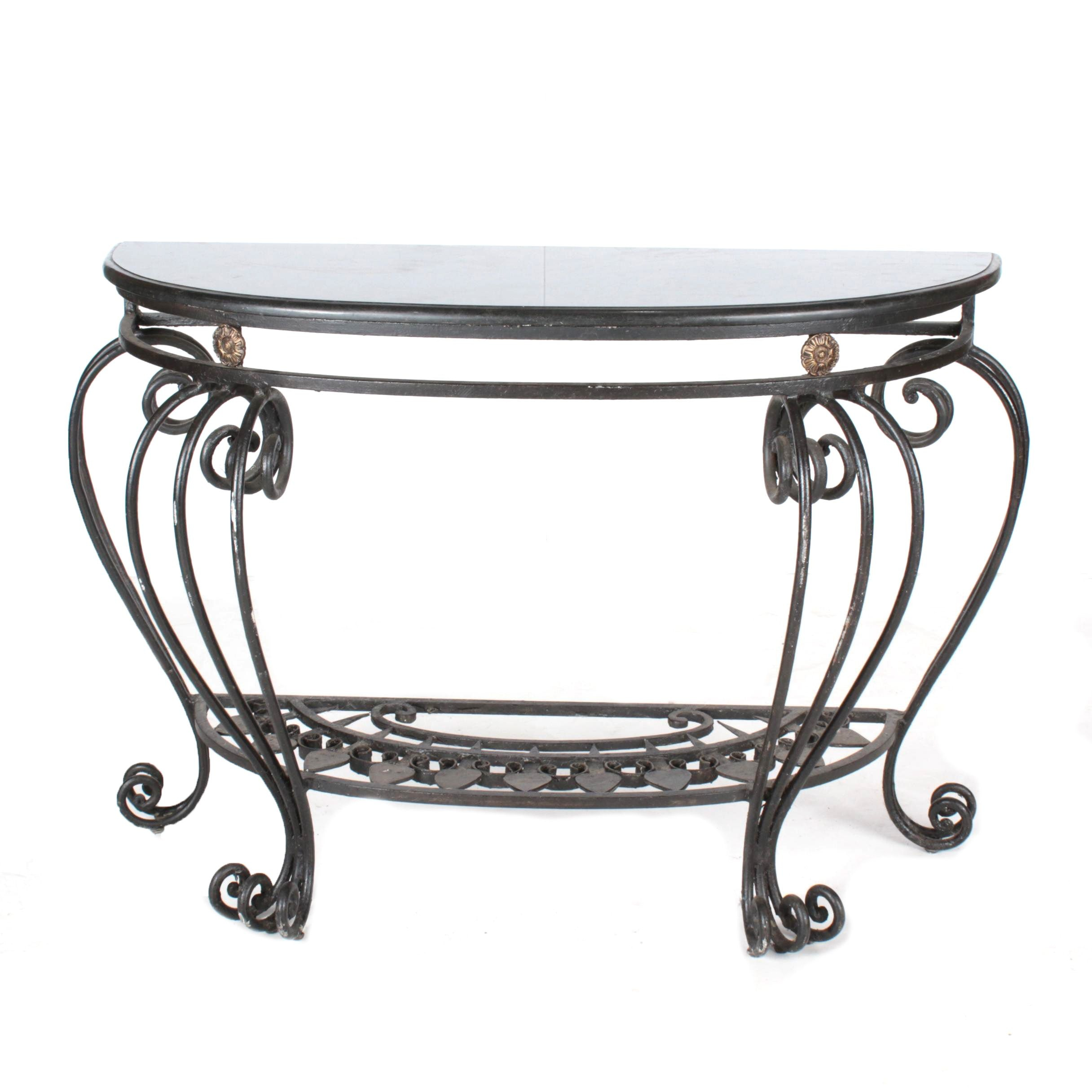Wrought Iron Demilune Console Table with Black Granite Top