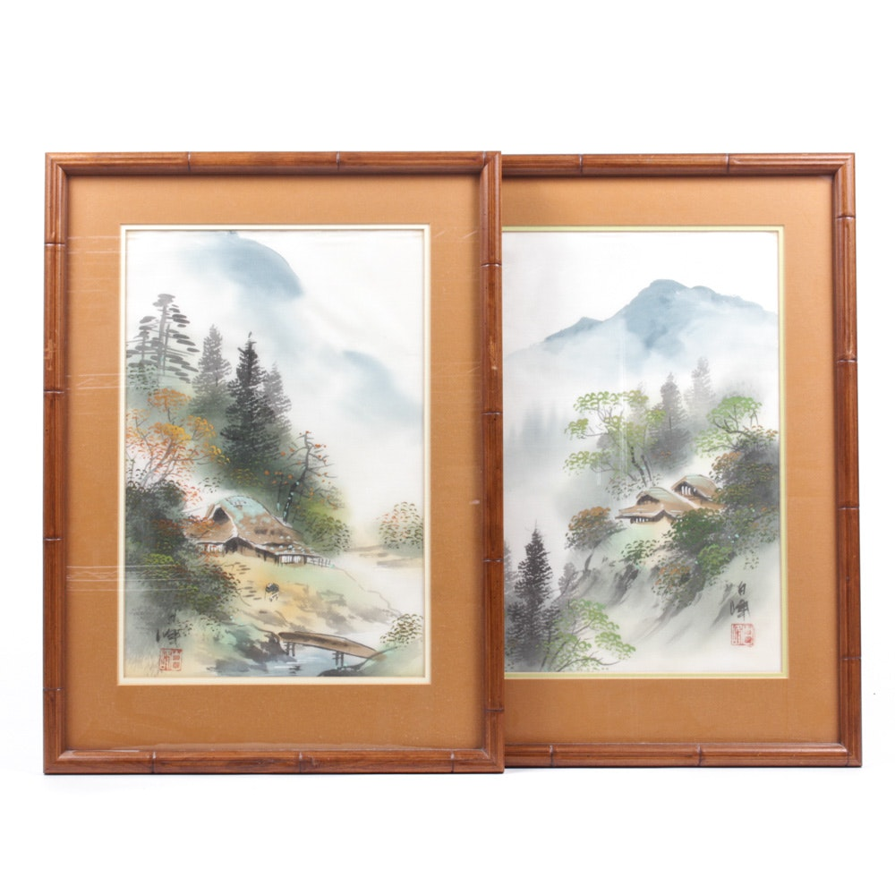 Signed Chinese Gouache on Silk Paintings
