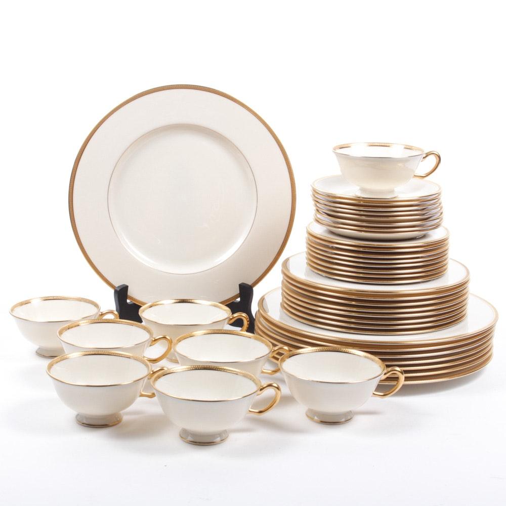 "Lenox ""Windsor"" Gold Encrusted Dinner Service for Eight"