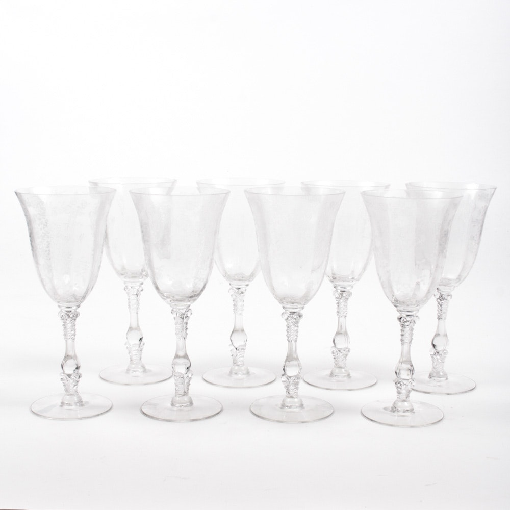 """Cambridge """"Rose Point Clear"""" Etched Water Goblets"""