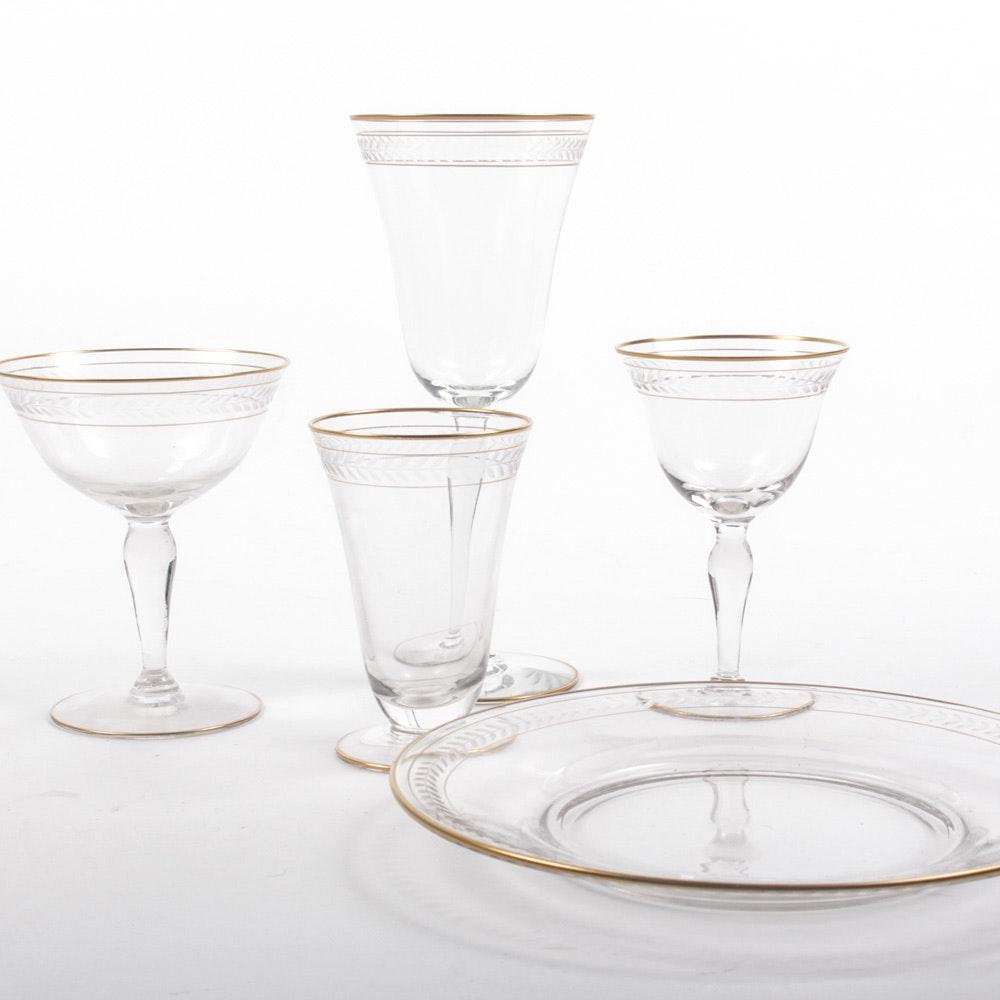 "Vintage Glastonbury-Lotus ""Grenoble"" Laurel Etched Gilt Glass Tableware"