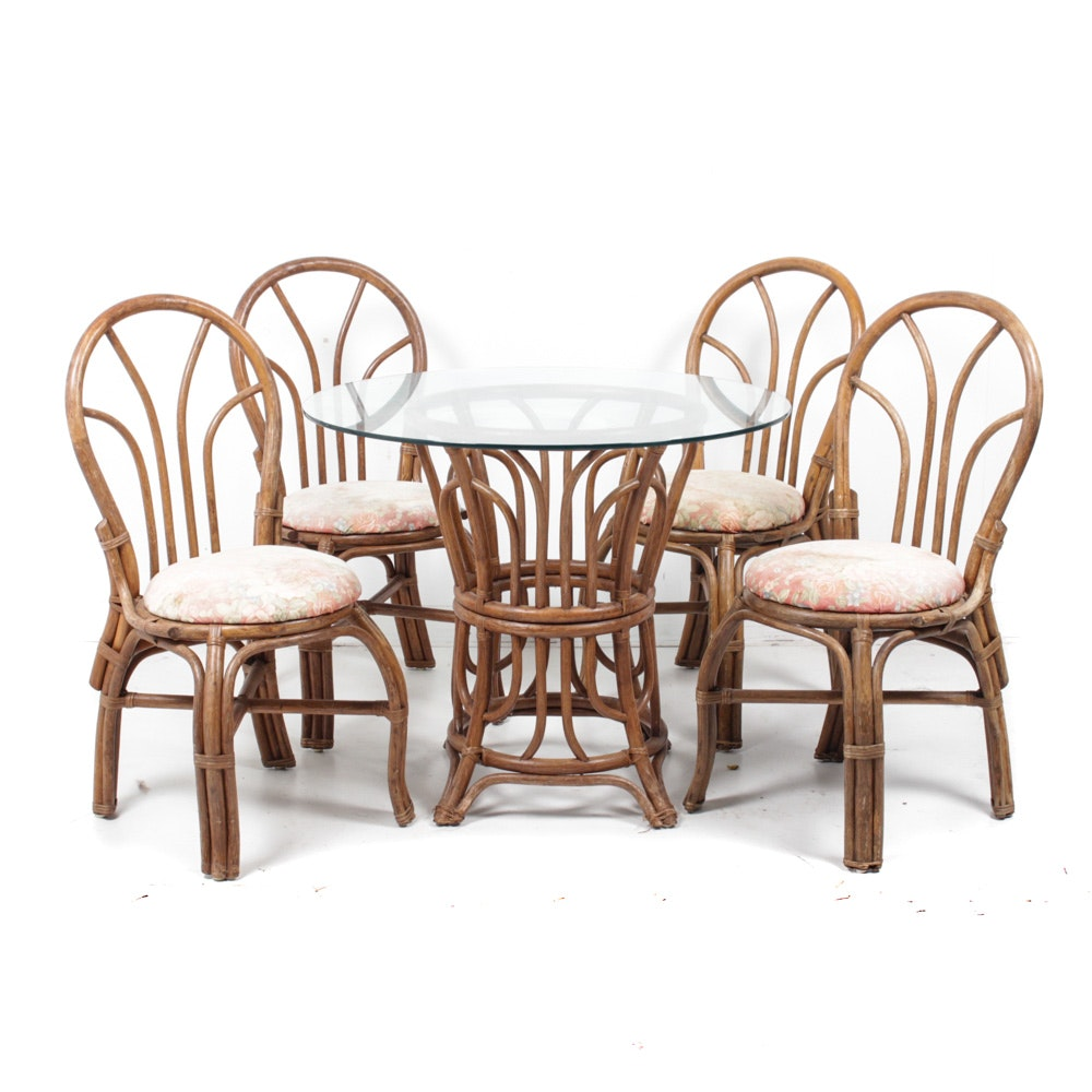 Vintage Philippine Bamboo Cafe Table and Chairs
