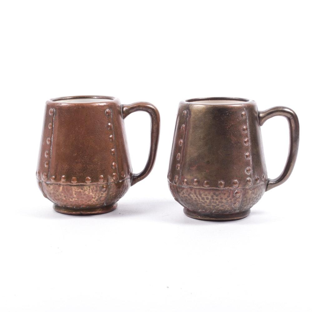 Rare Charles Clewell Metal Clad Mugs
