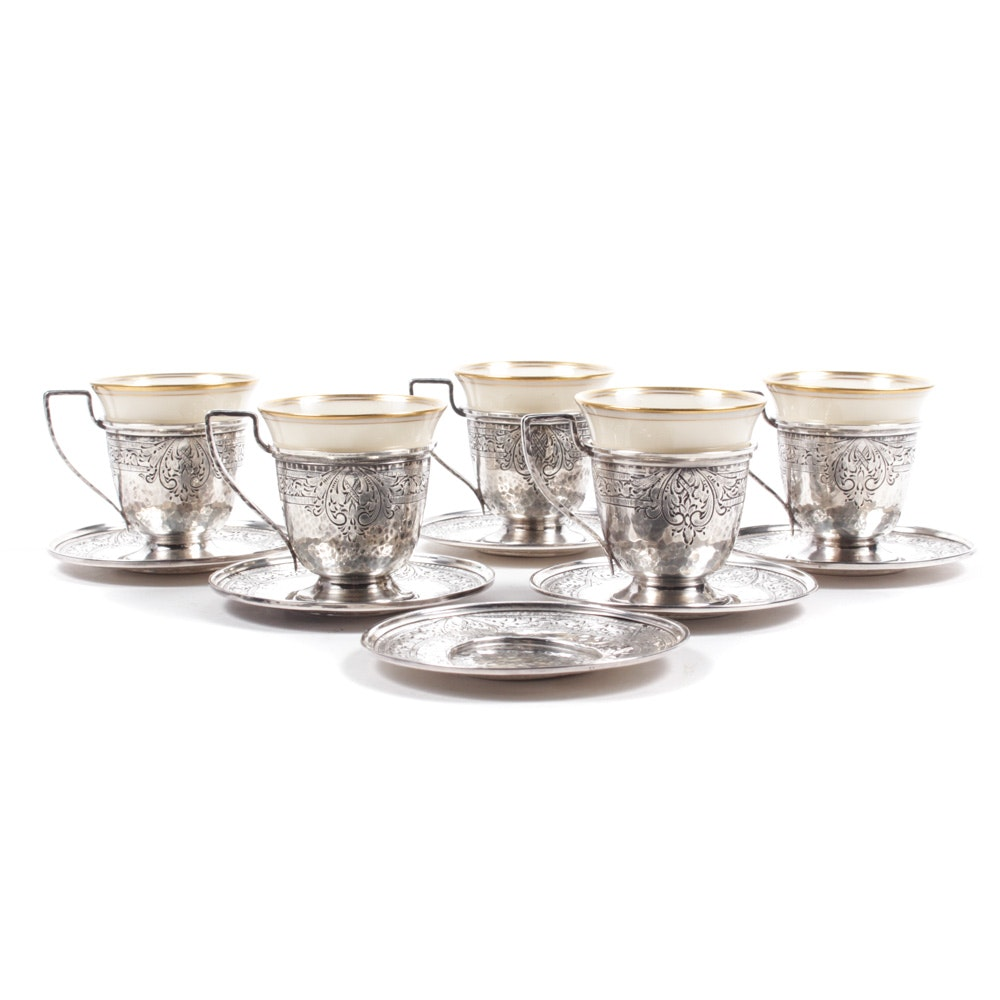 Antique Sterling Silver Demitasse Cup Holders with Lenox Inserts