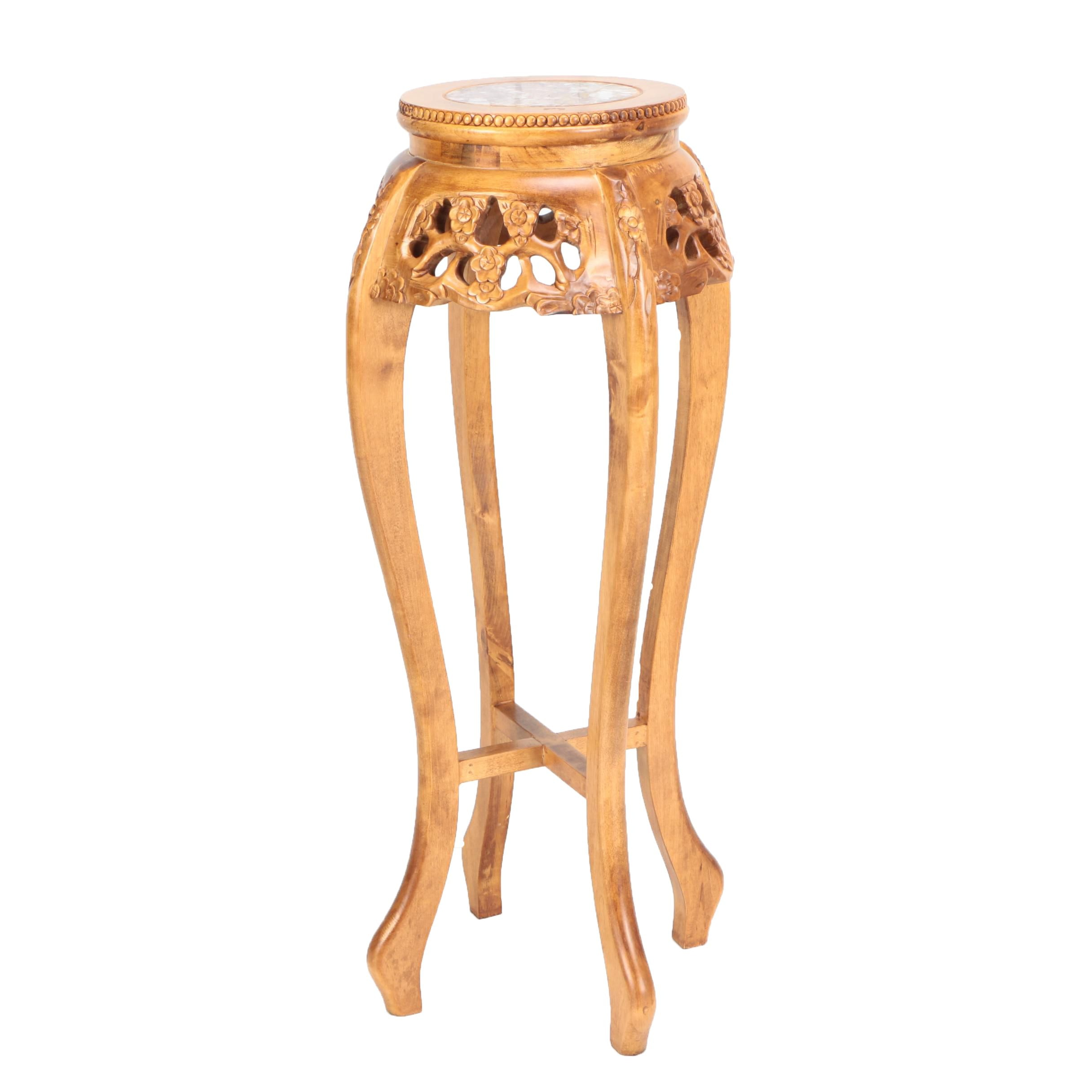 Chinese Hand-Carved Wooden Pedestal
