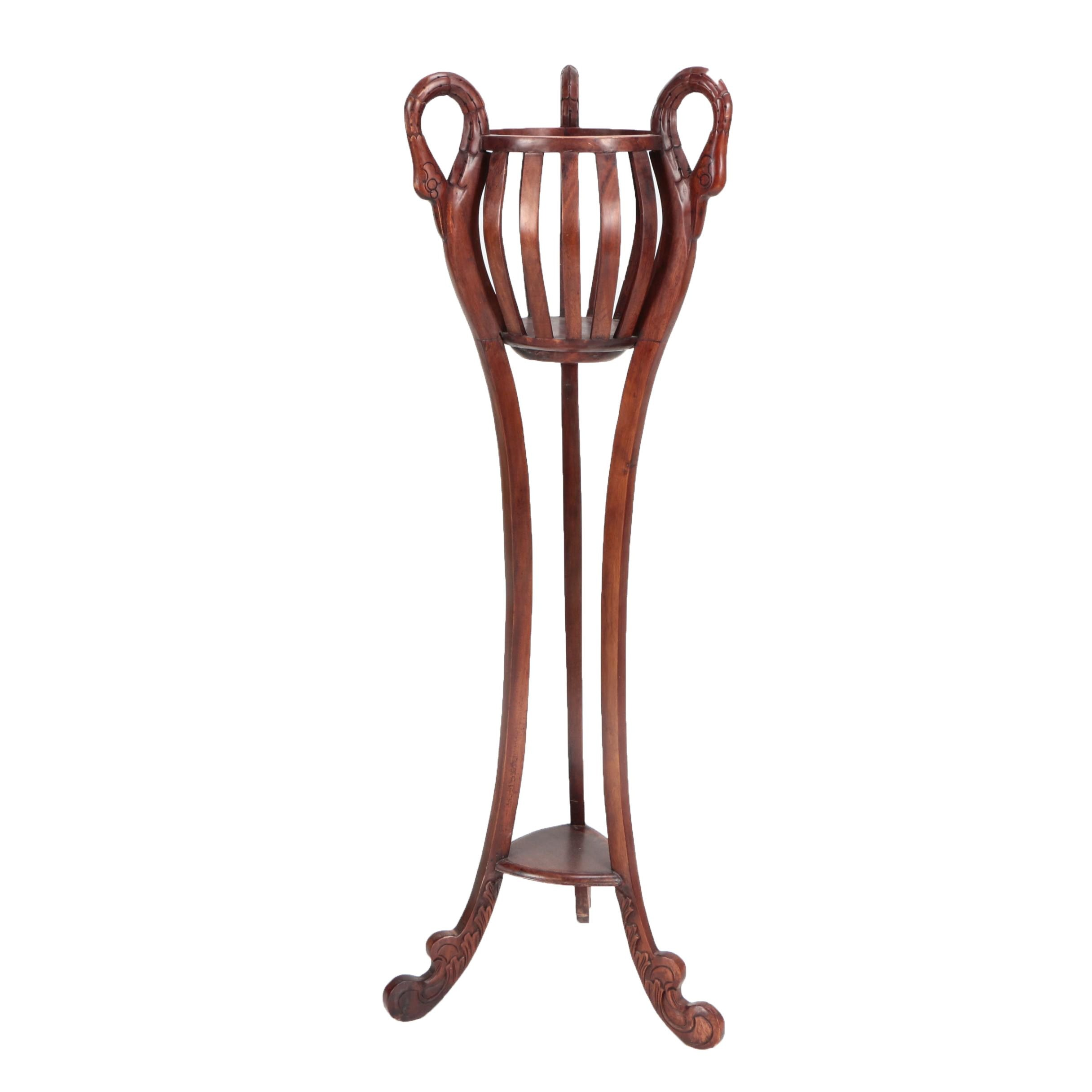 Vintage Victorian Style Wooden Plant Stand with Swan Neck Supports