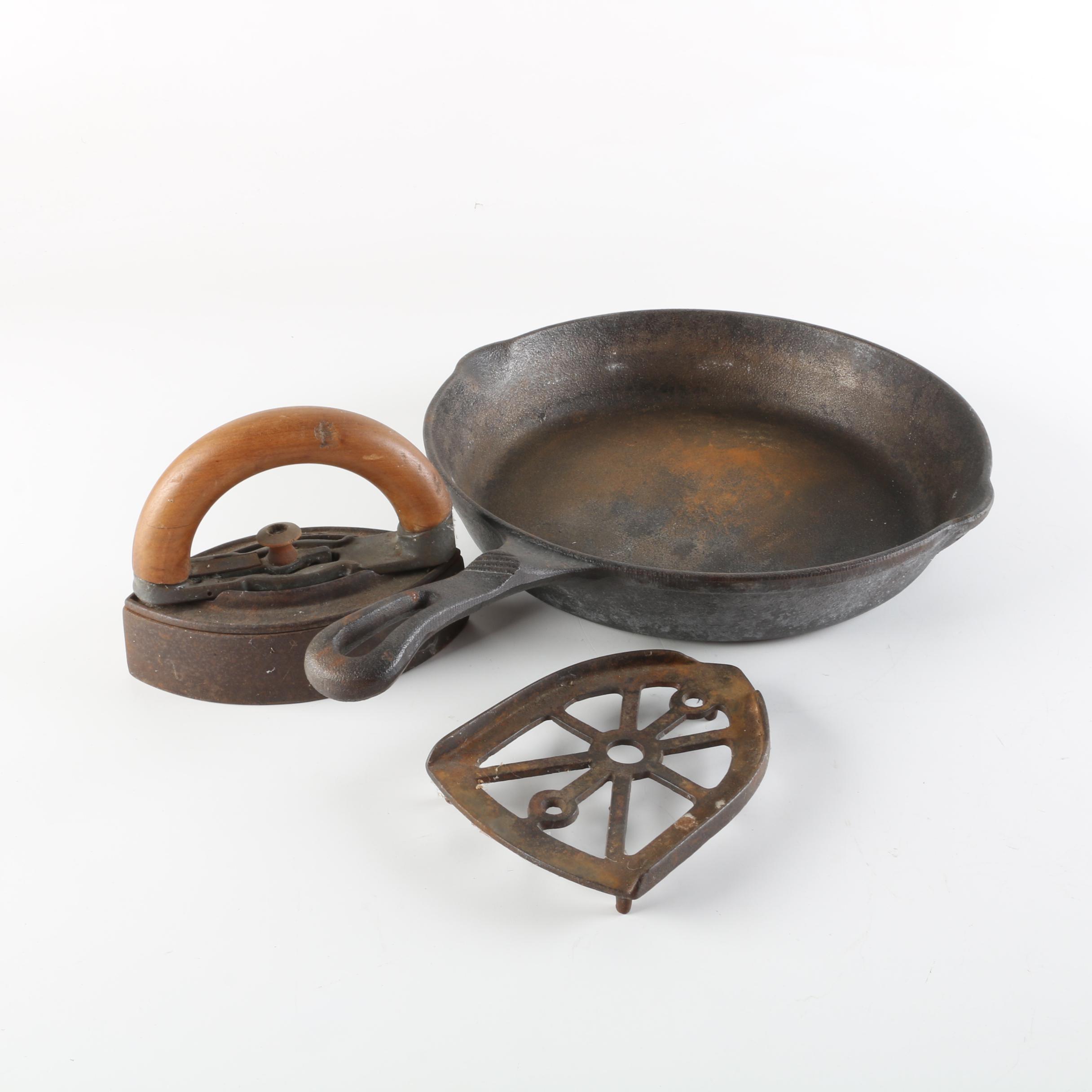 Keilen Cast Iron Skillet Including Vintage Iron and Trivet