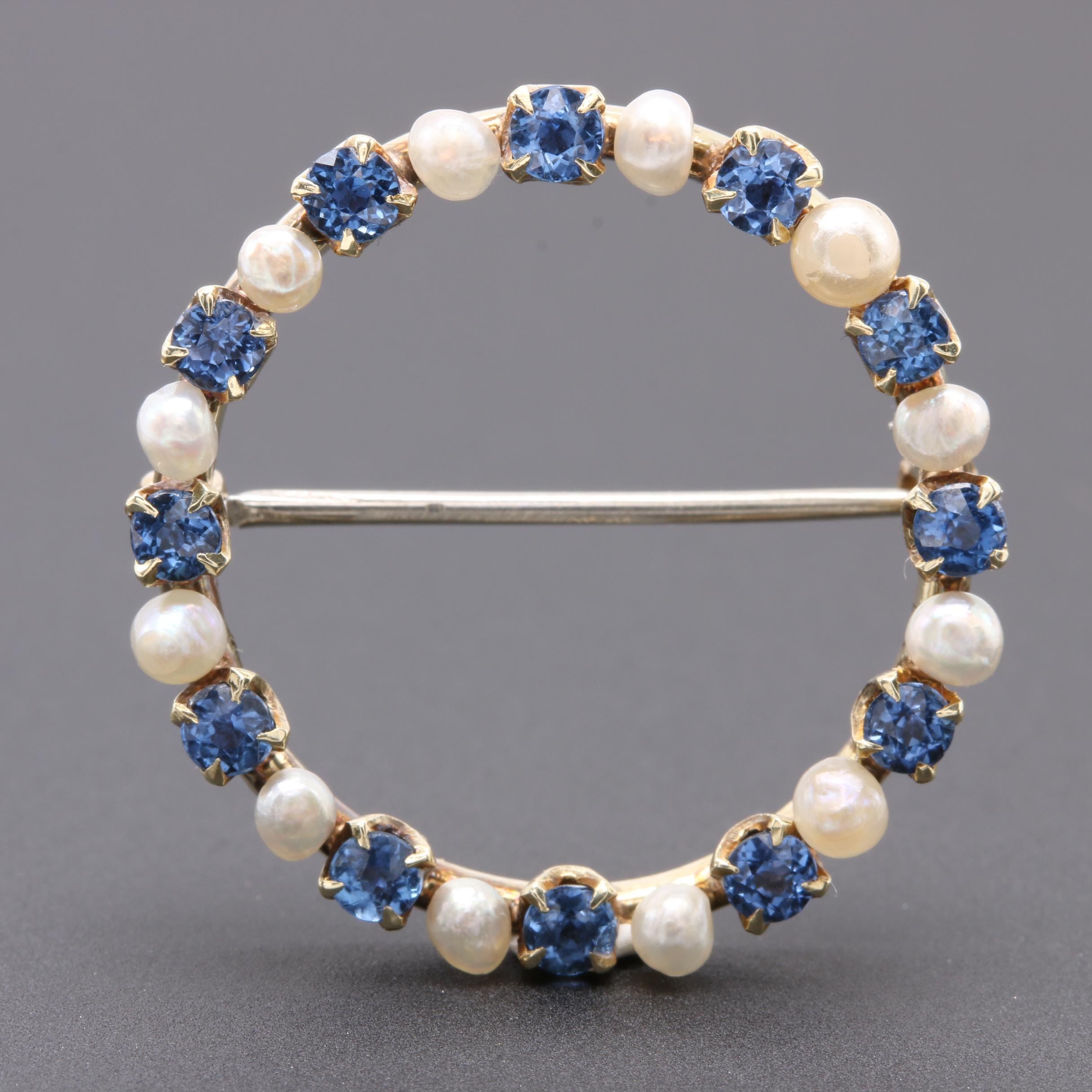 Vintage 14K Yellow Gold Blue Sapphire and Seed Pearl Brooch