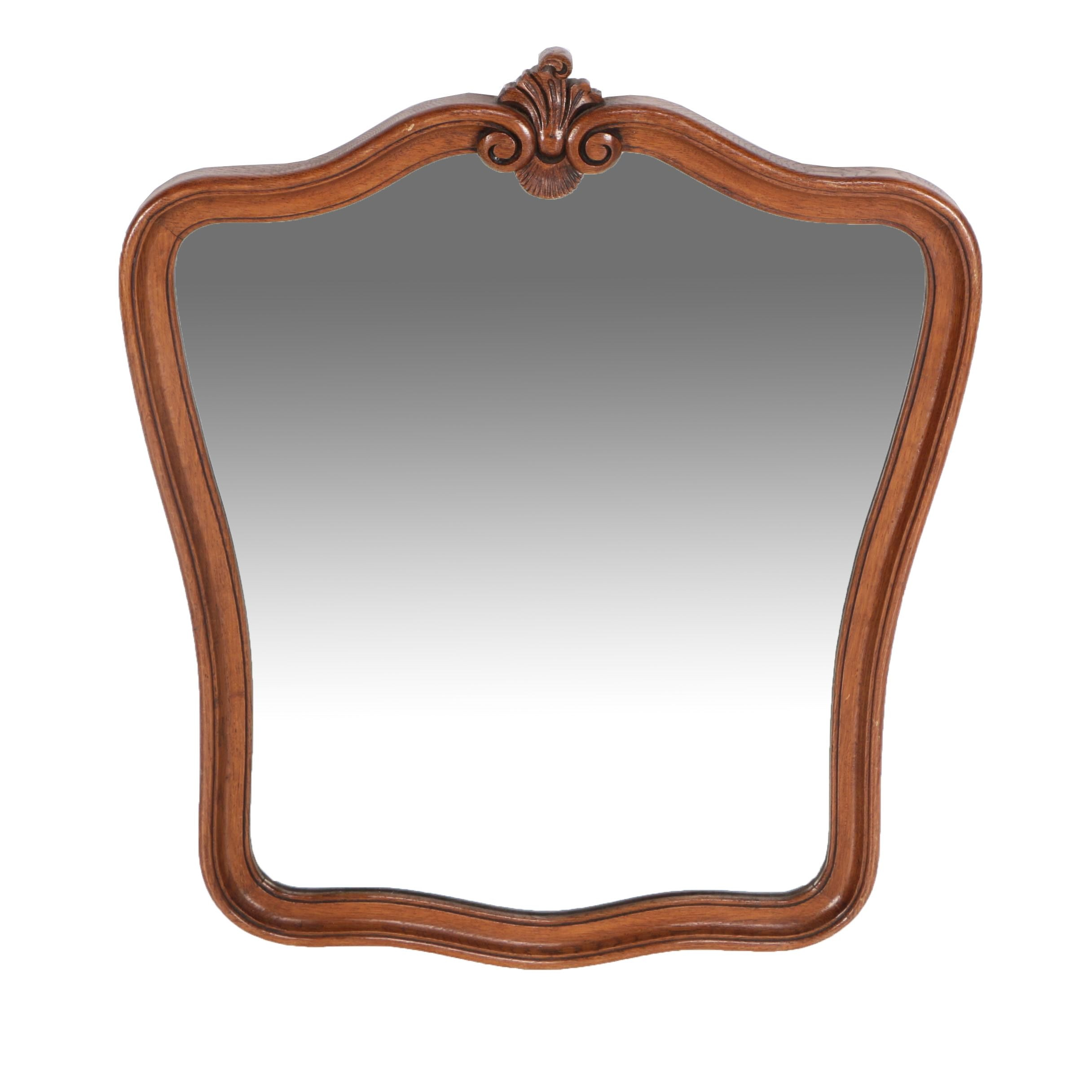 Beveled Glass Wall Mirror with Carved Wood Frame