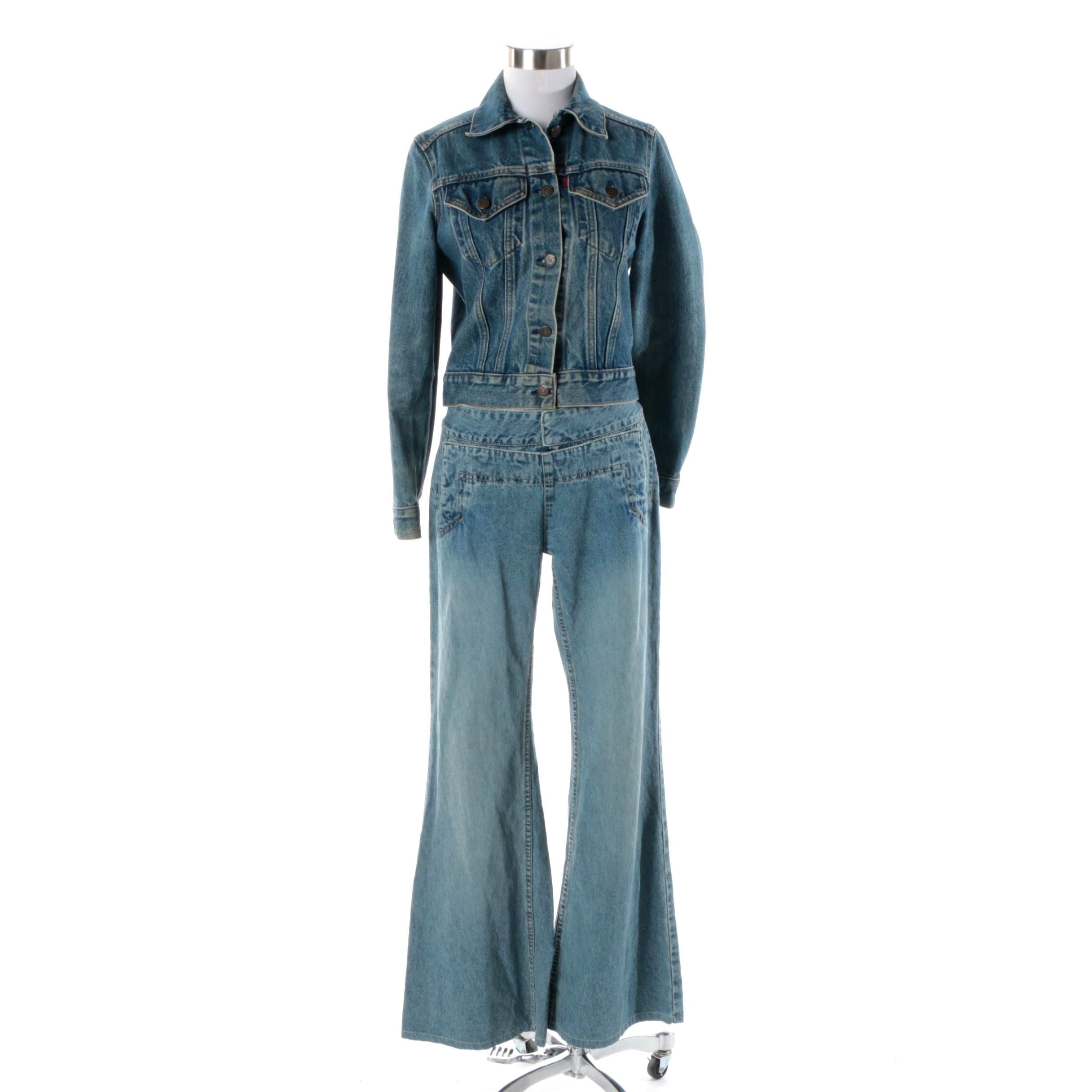 Women's Levi's Denim Jacket and Jill Stuart Flared Leg Jeans