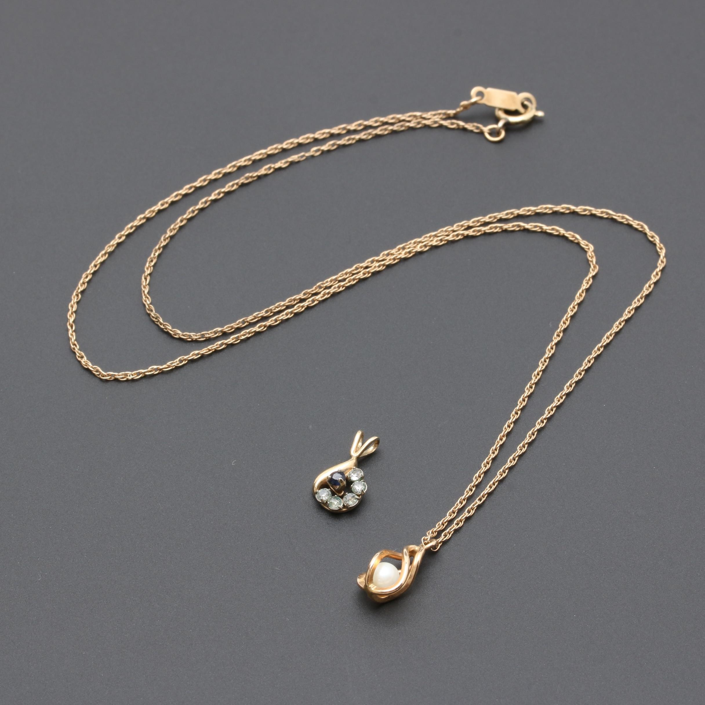 Gold Tone Gemstone Jewelry Including Cultured Pearl and Krementz