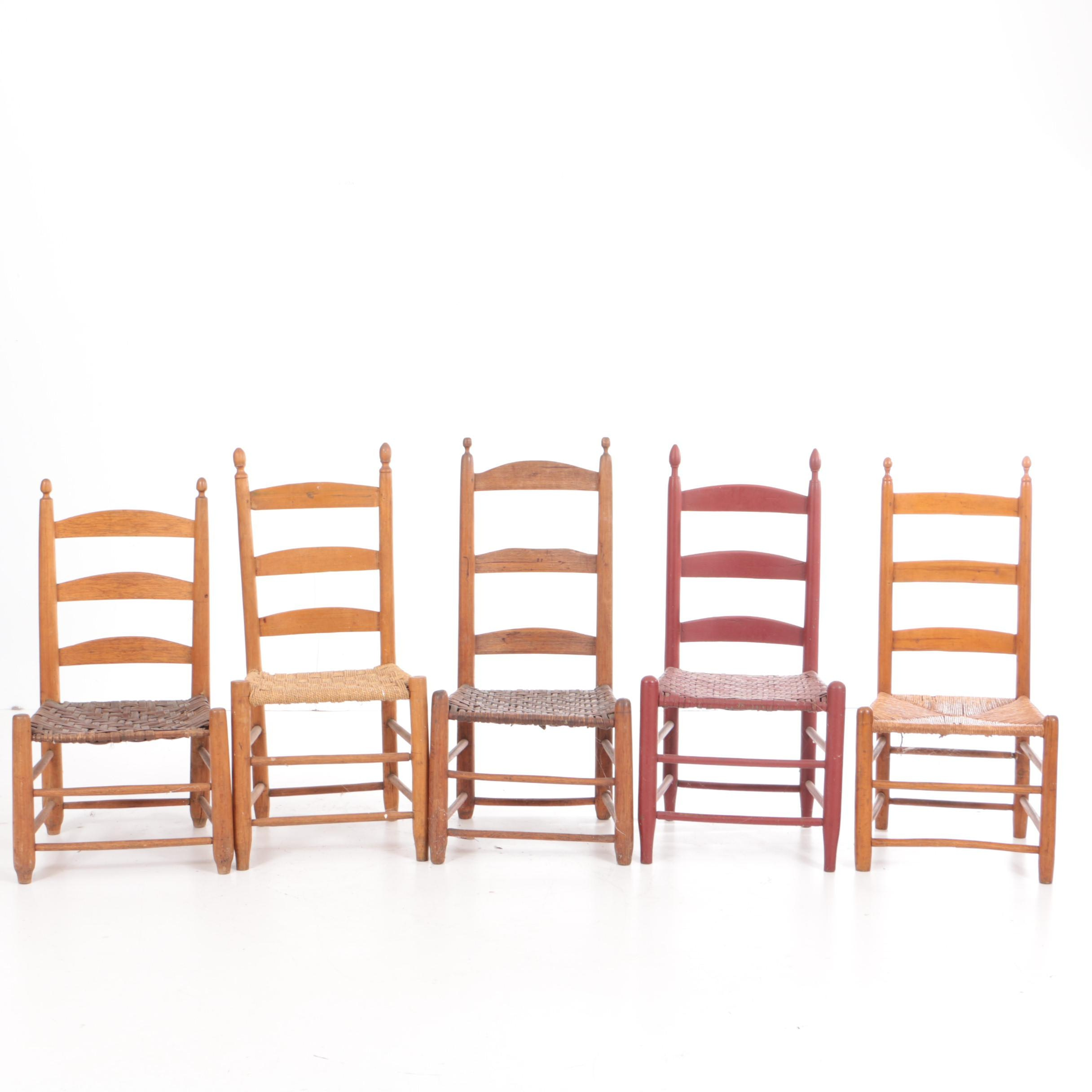 Antique Ladderback Side Chairs with Woven Seats
