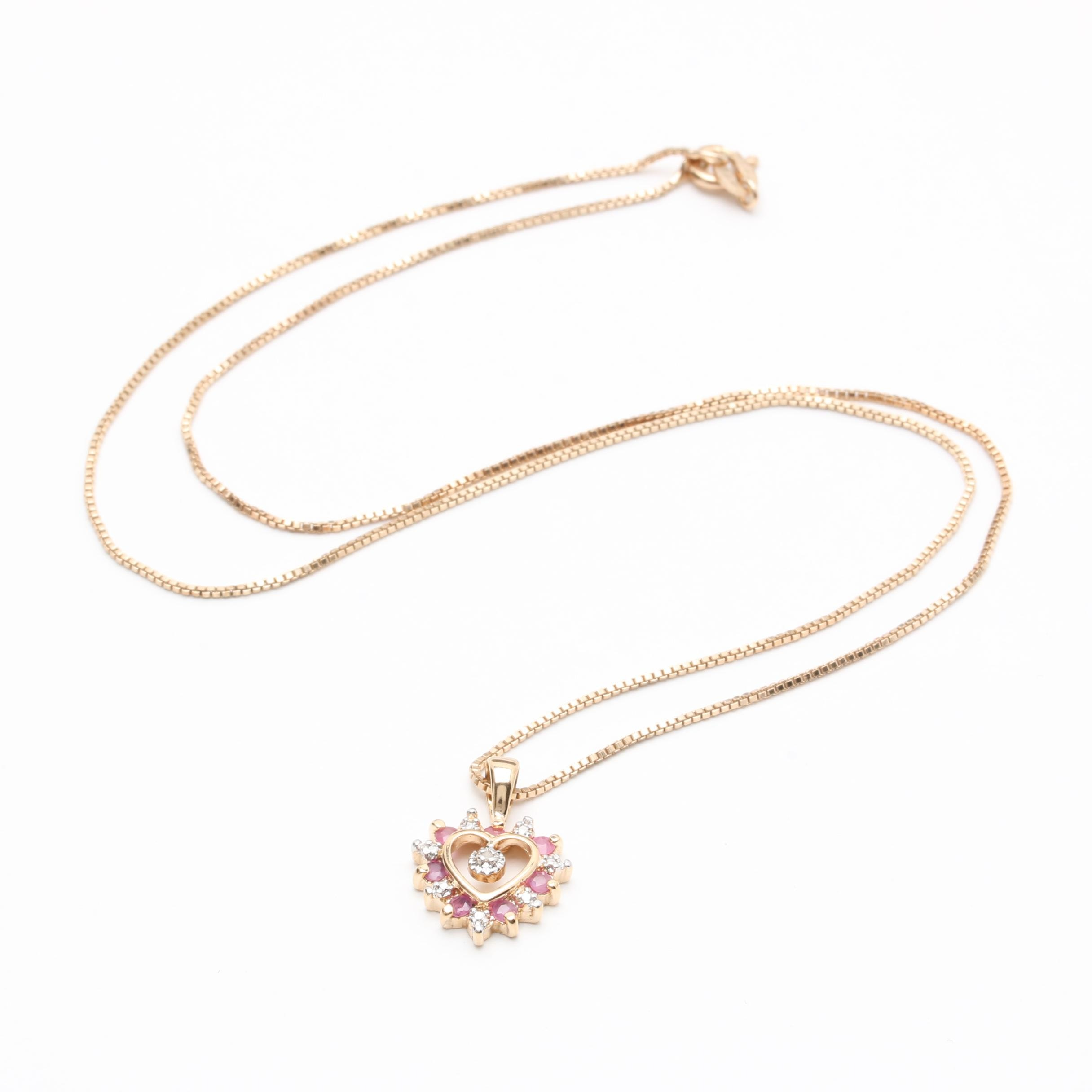Gold Wash on Sterling Silver Ruby and Diamond Heart Pendant Necklace