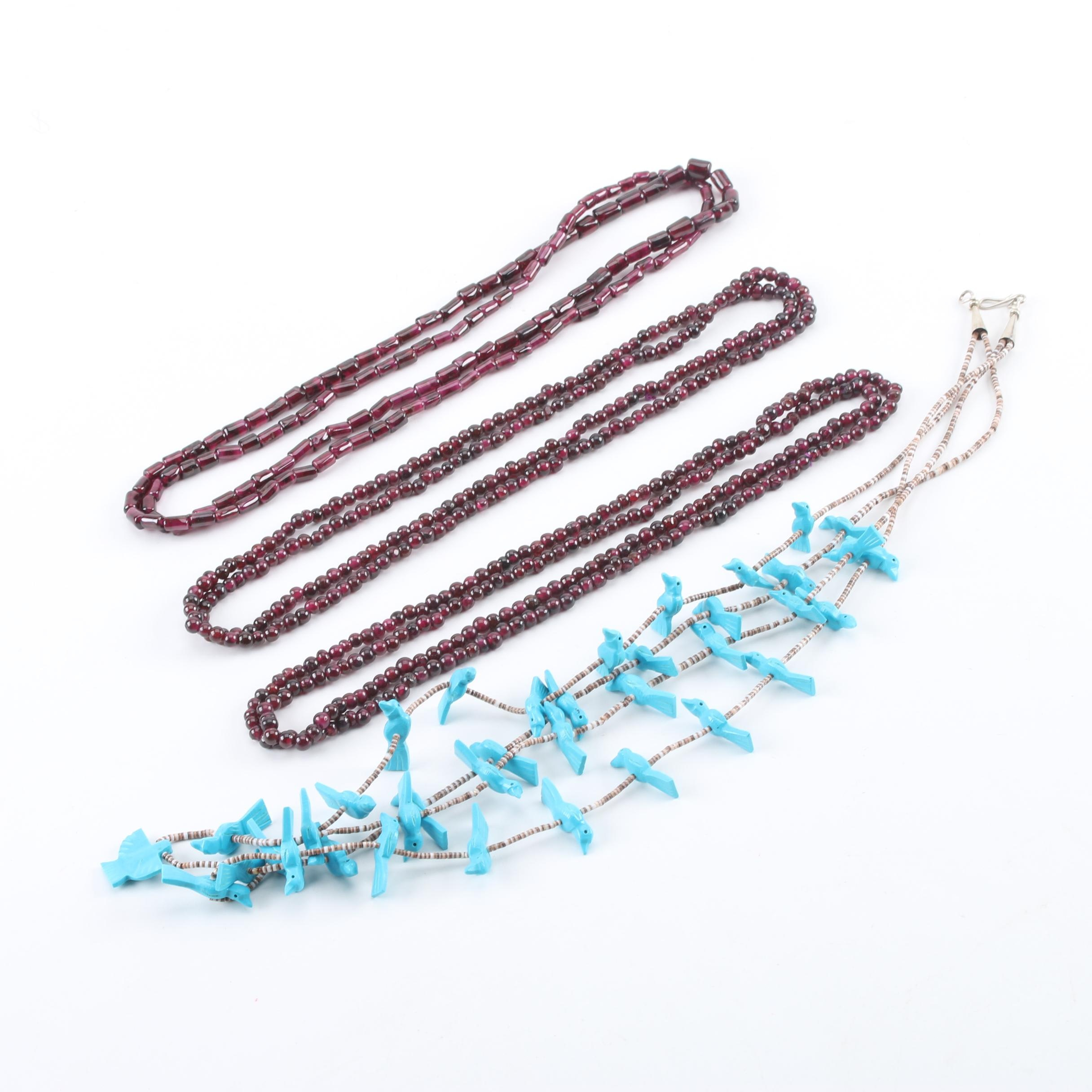 Necklace Selection Including Sterling Silver, Garnet and Imitation Turquoise